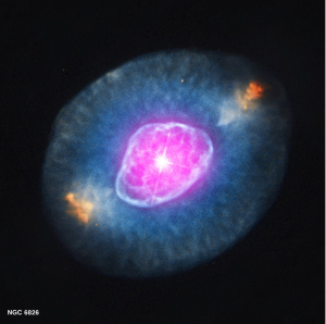 Nebula NGC 6826, a diffuse collection of gas and other material, from which new stars and planets may be formed. Image: X-ray: NASA/CXC/RIT/J.Kastner et al.; Optical: NASA/STScI
