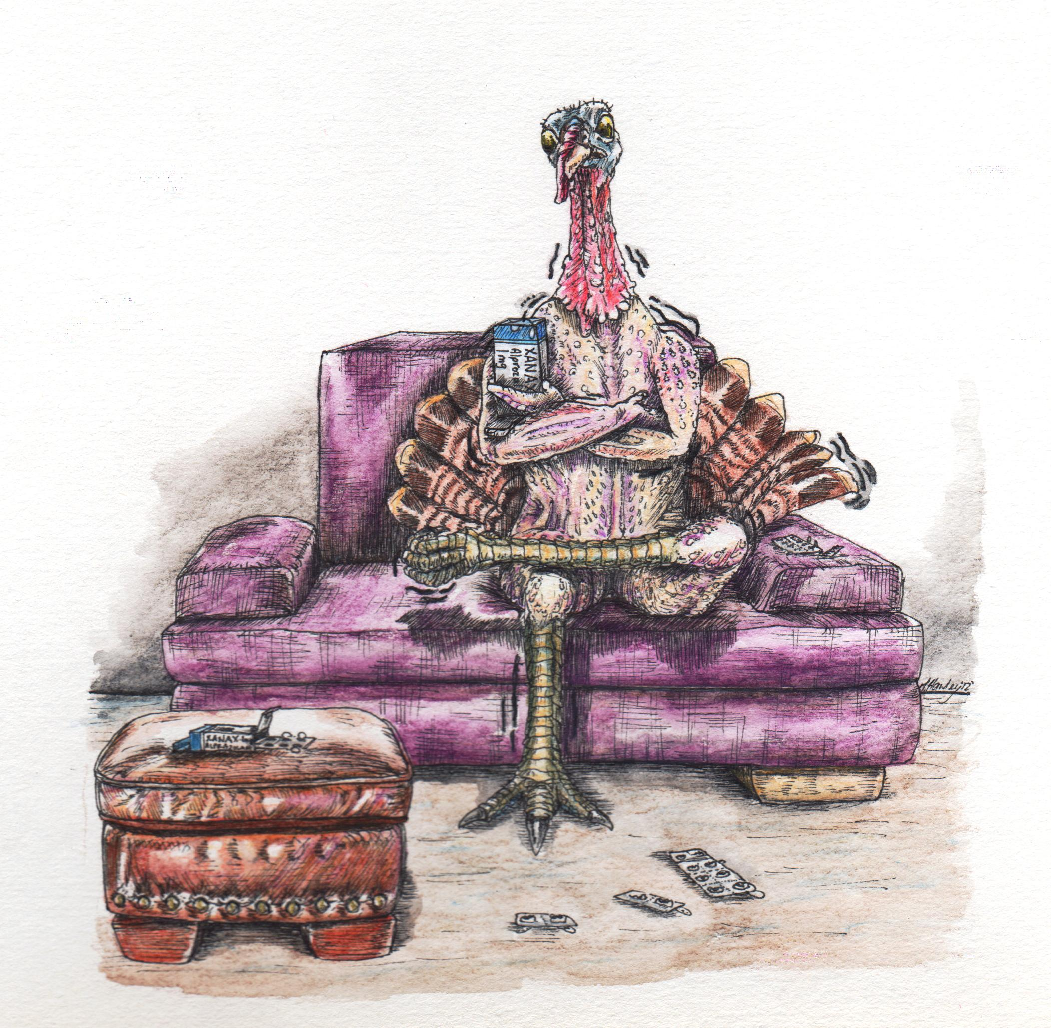 Cold Turkey – I was asked to do an illustration of a cold turkey going 'cold turkey' on Xanax.