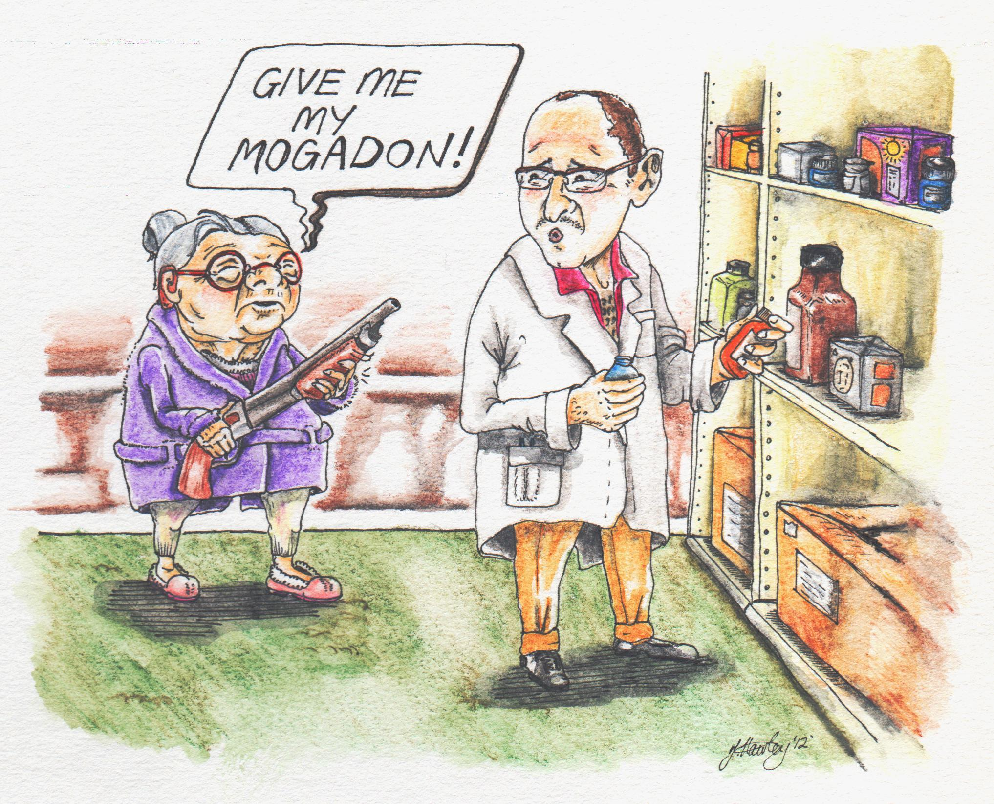 Mogadon Granny. Nitrazepam, marketed as Mogadon, is used for insomnia yet has the potential to be abused by users. It is used by the elderly, but its paralysing effects last over night and can result in the elderly falling and breaking hips.