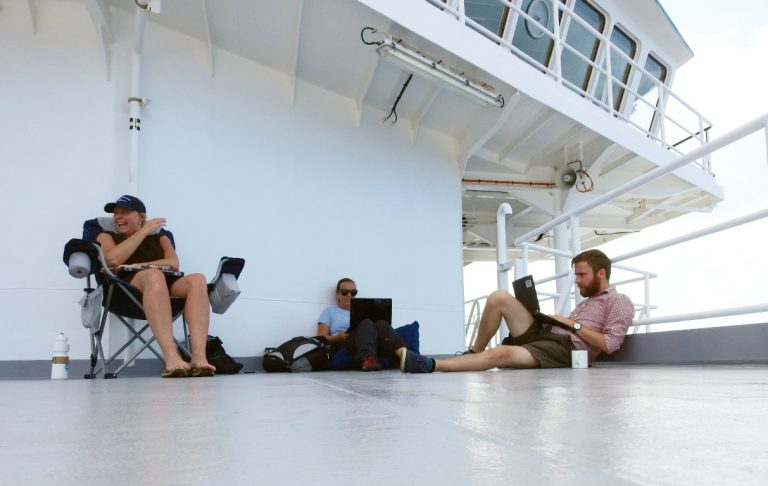 Our office. Left: Linda; Middle: Katie; Right: Me, writing the blog you're reading. Photo: Katie Walters.