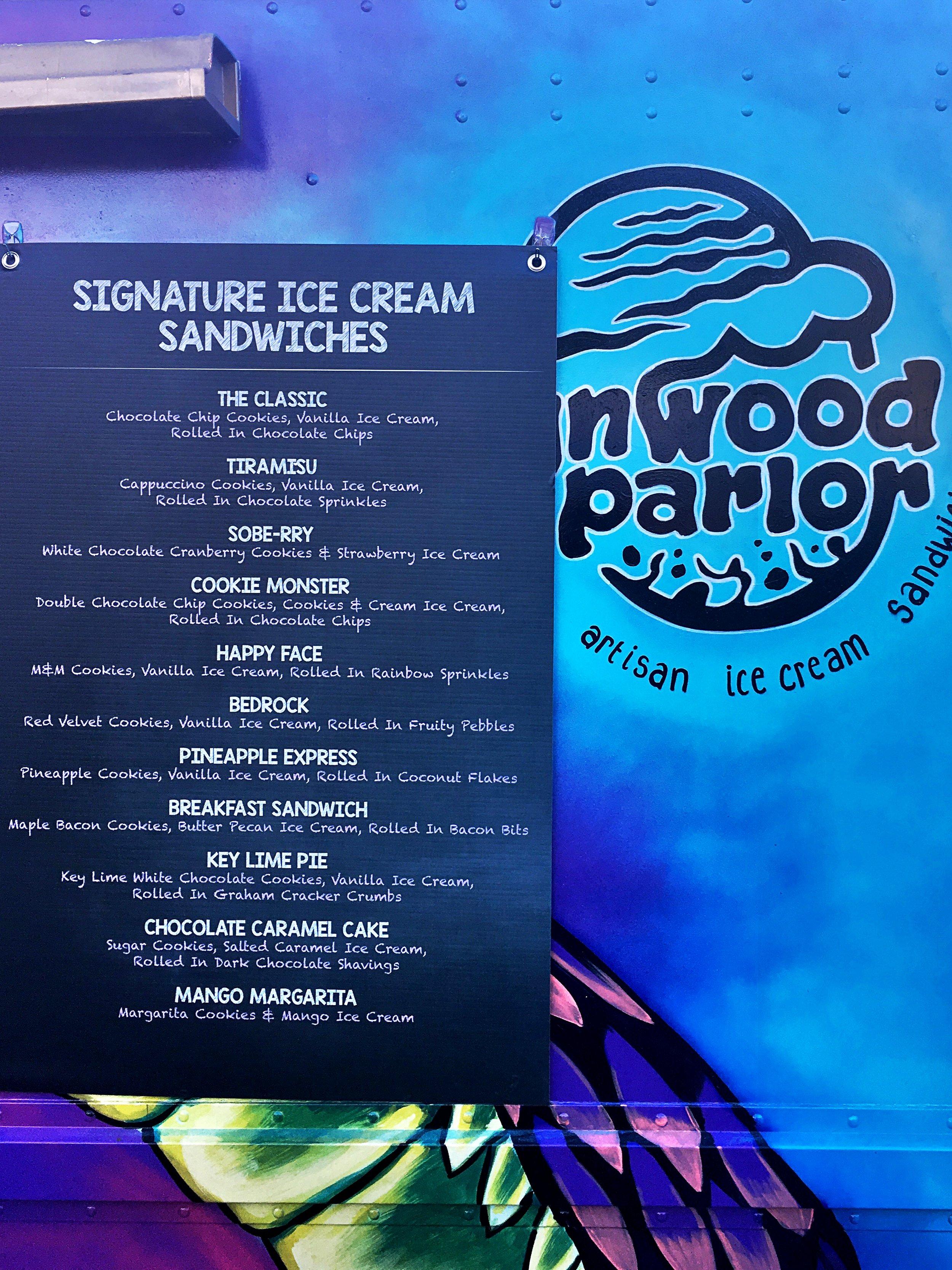 Wynwood Parlor Ice Cream Sandwich Truck Menu