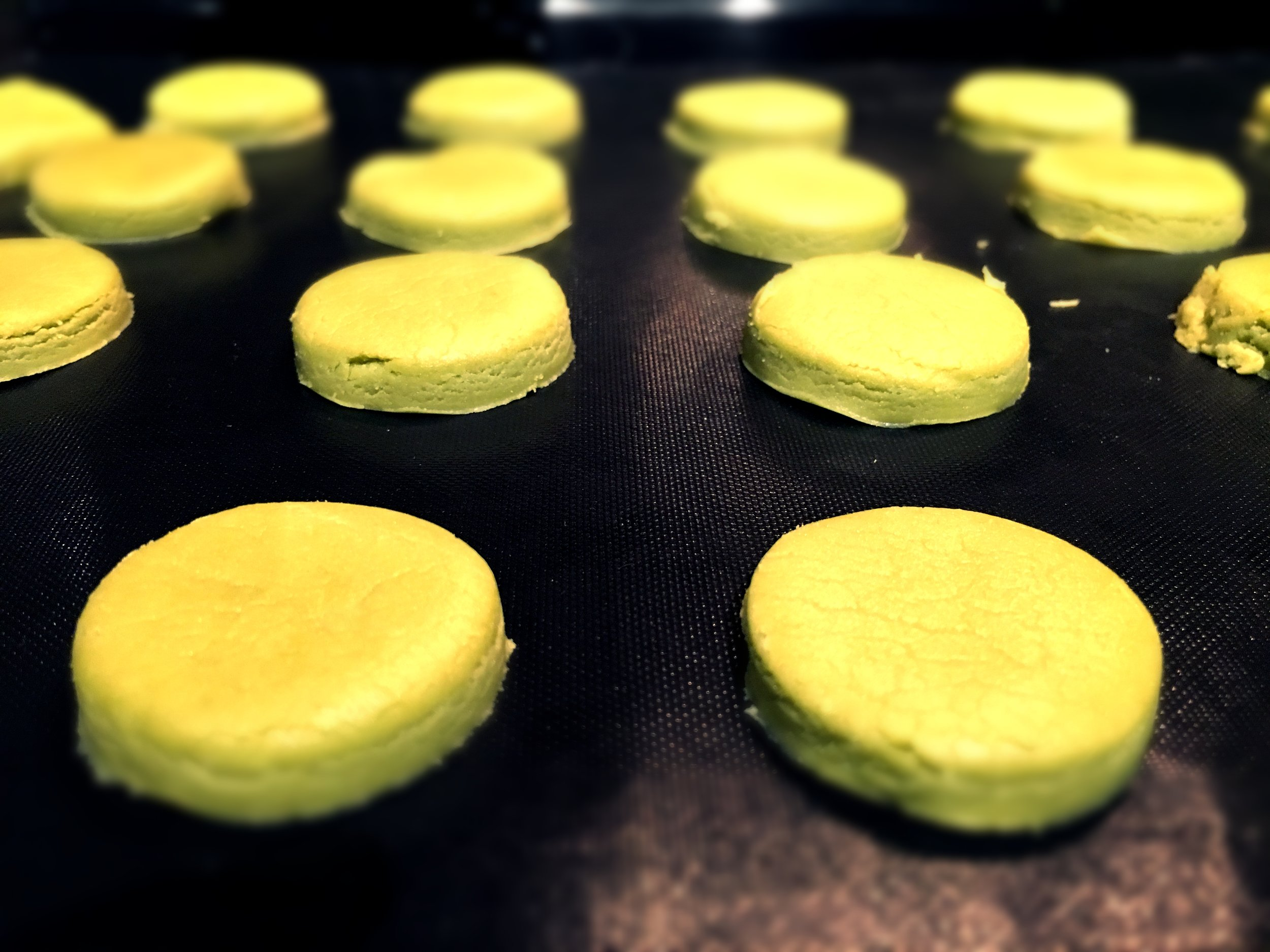 About to go into the oven - Matcha Butter Cookies
