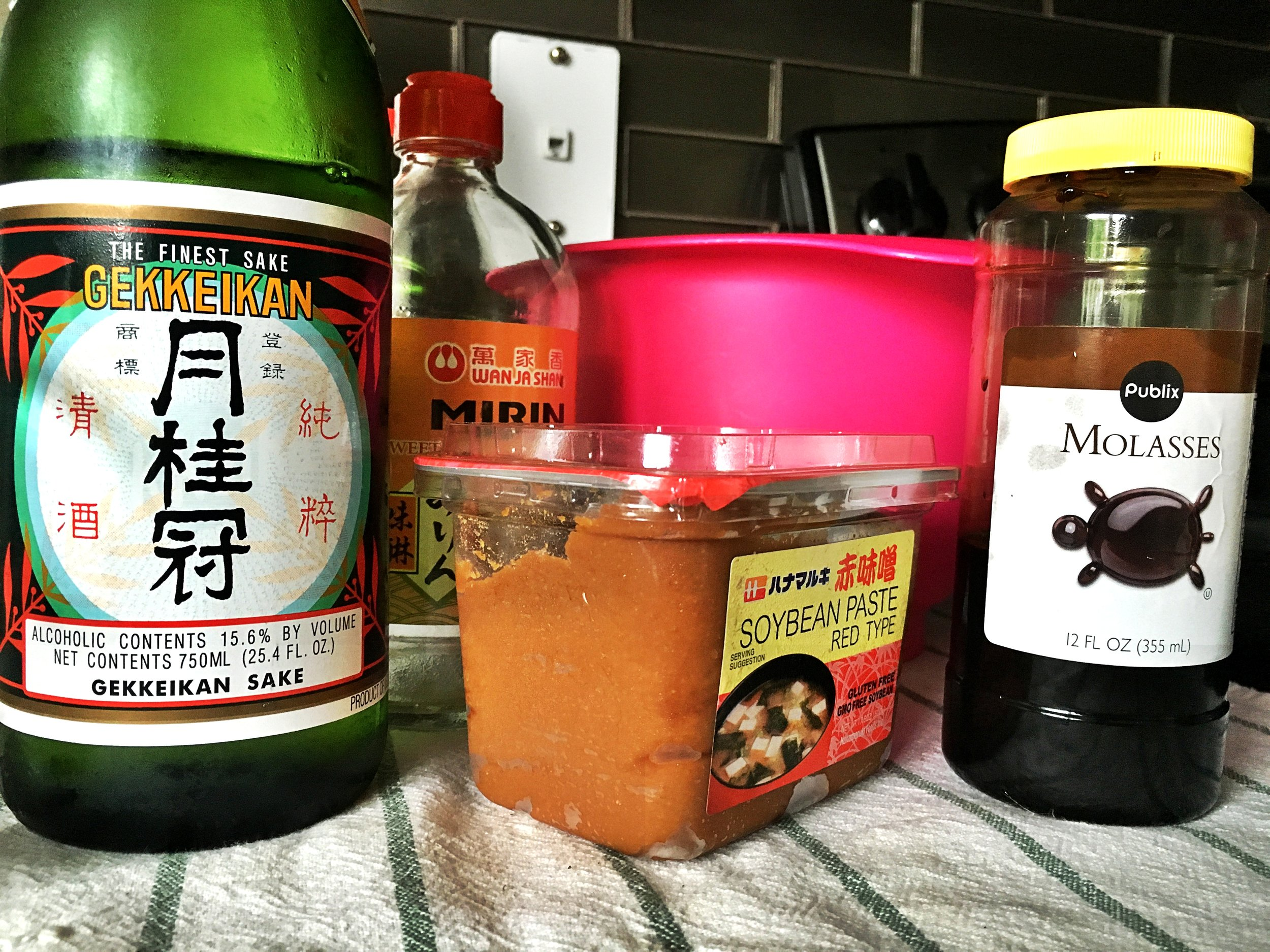 Sake and miso as marinade for Pork. Pretty good I must say.
