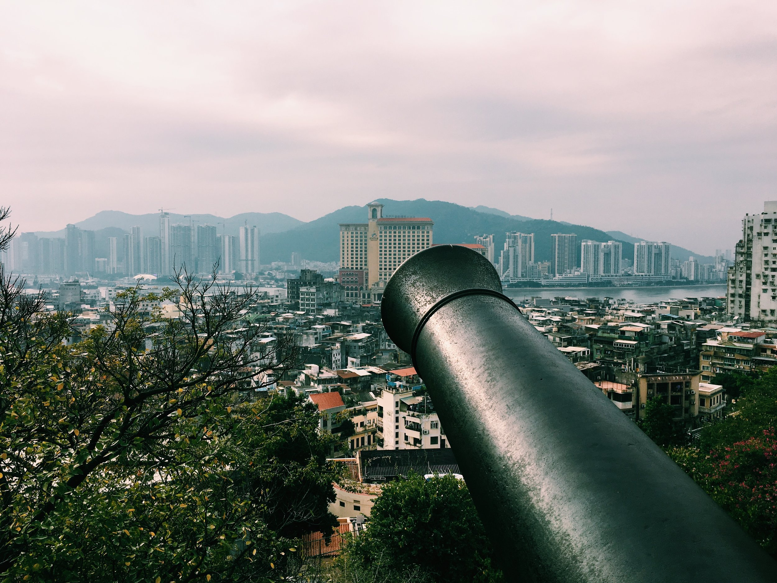 On Monte Fort / Mount Fortress overlooking Macau Peninsula and the river that seperates Macau and Zhu Hai, China