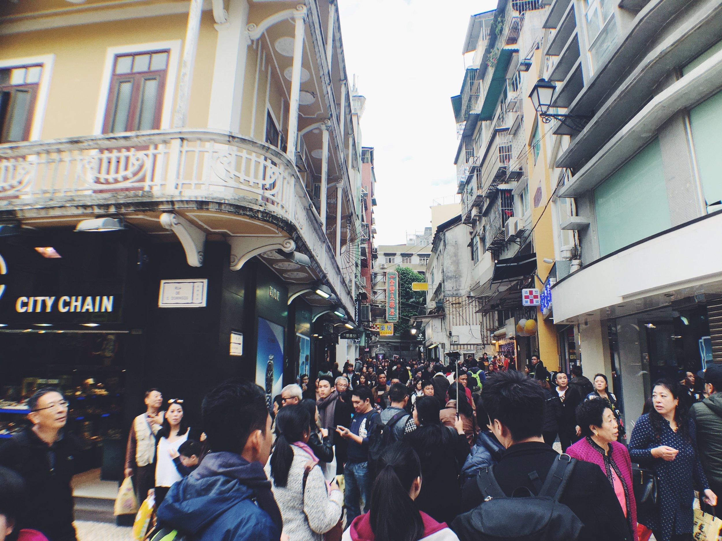 Busy end of the year 2016 Senado Square, Macau.