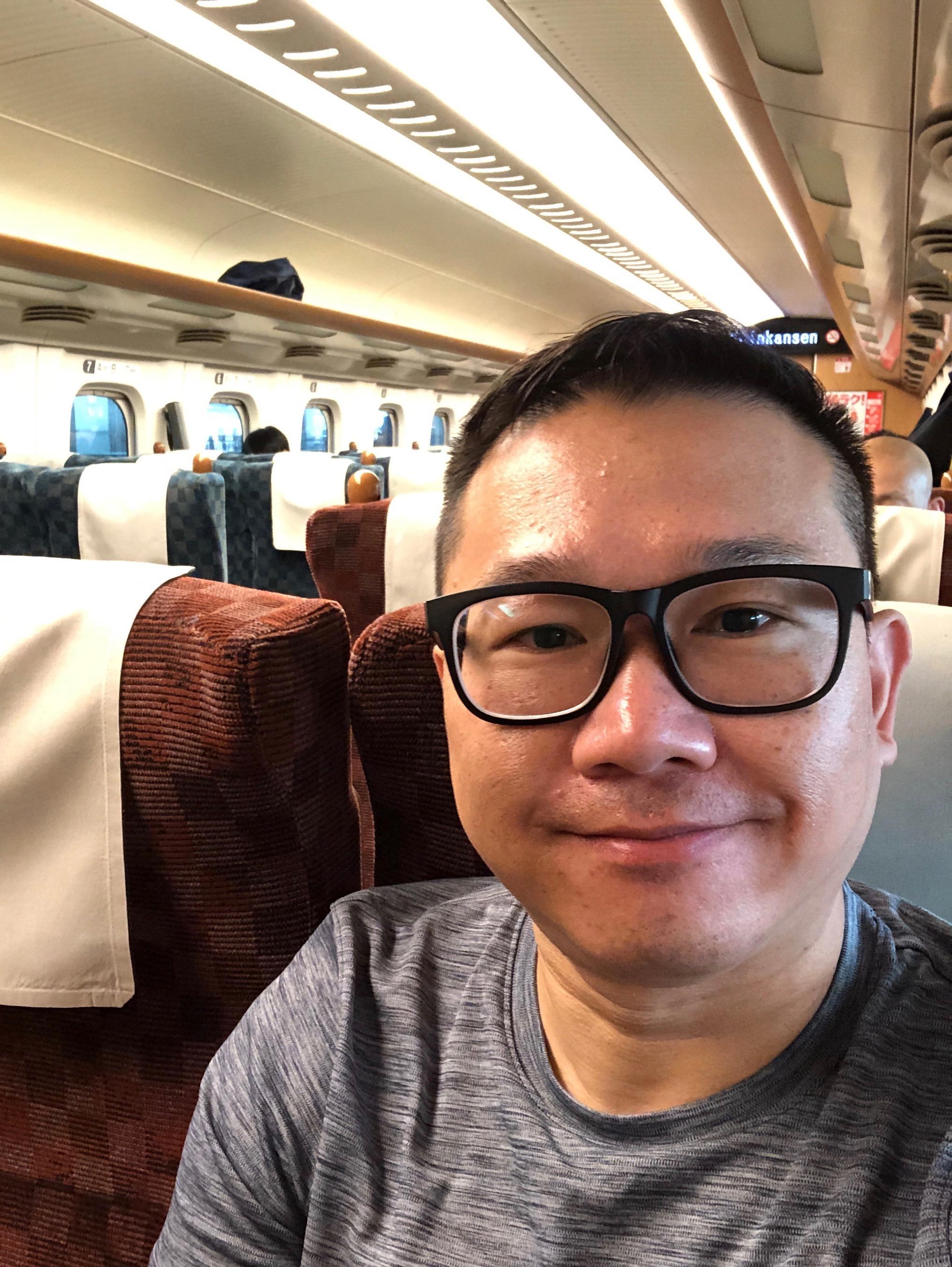 Riding my first Shinkansen.