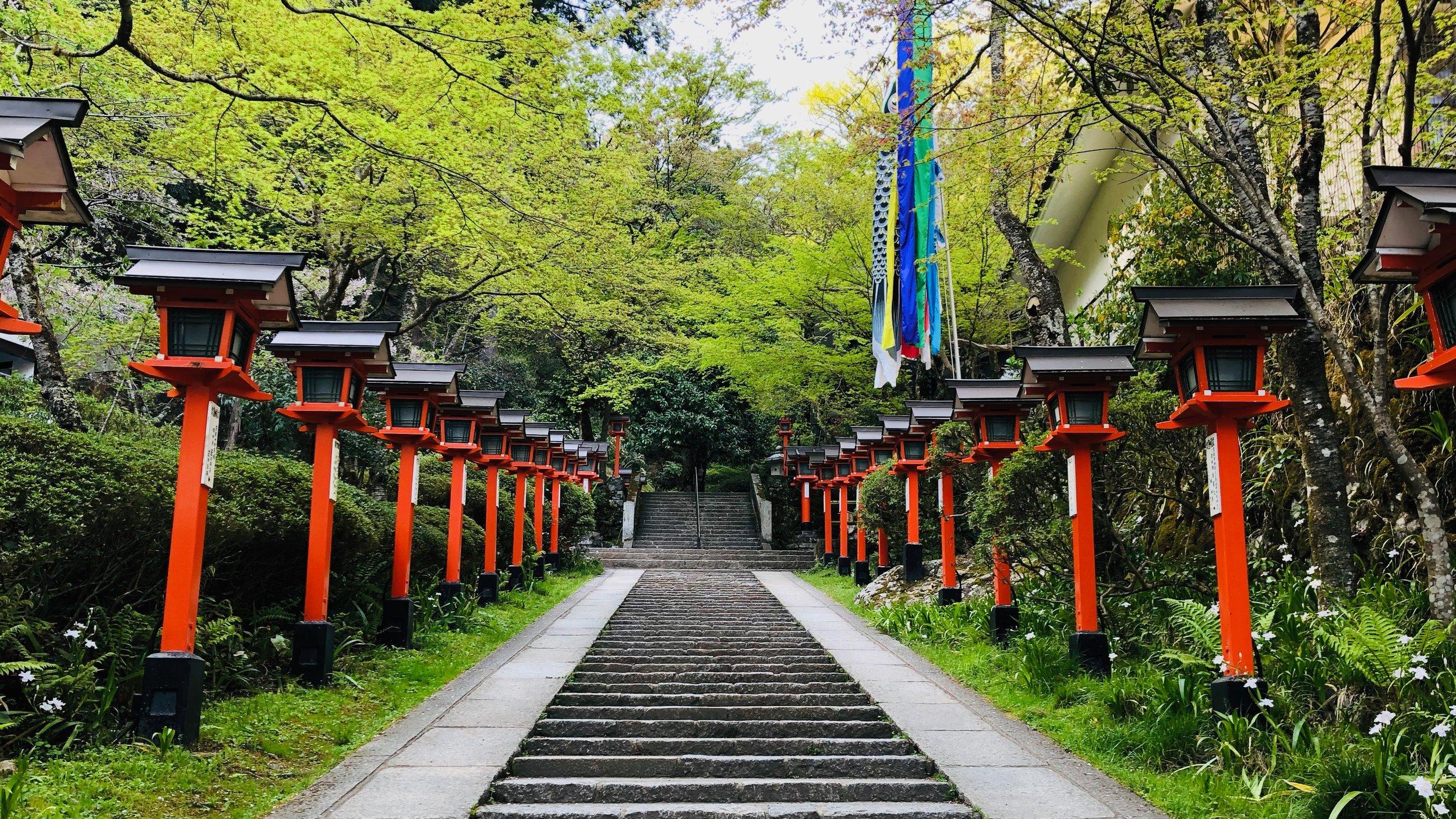 Stairs leading up to Mount Kurama.