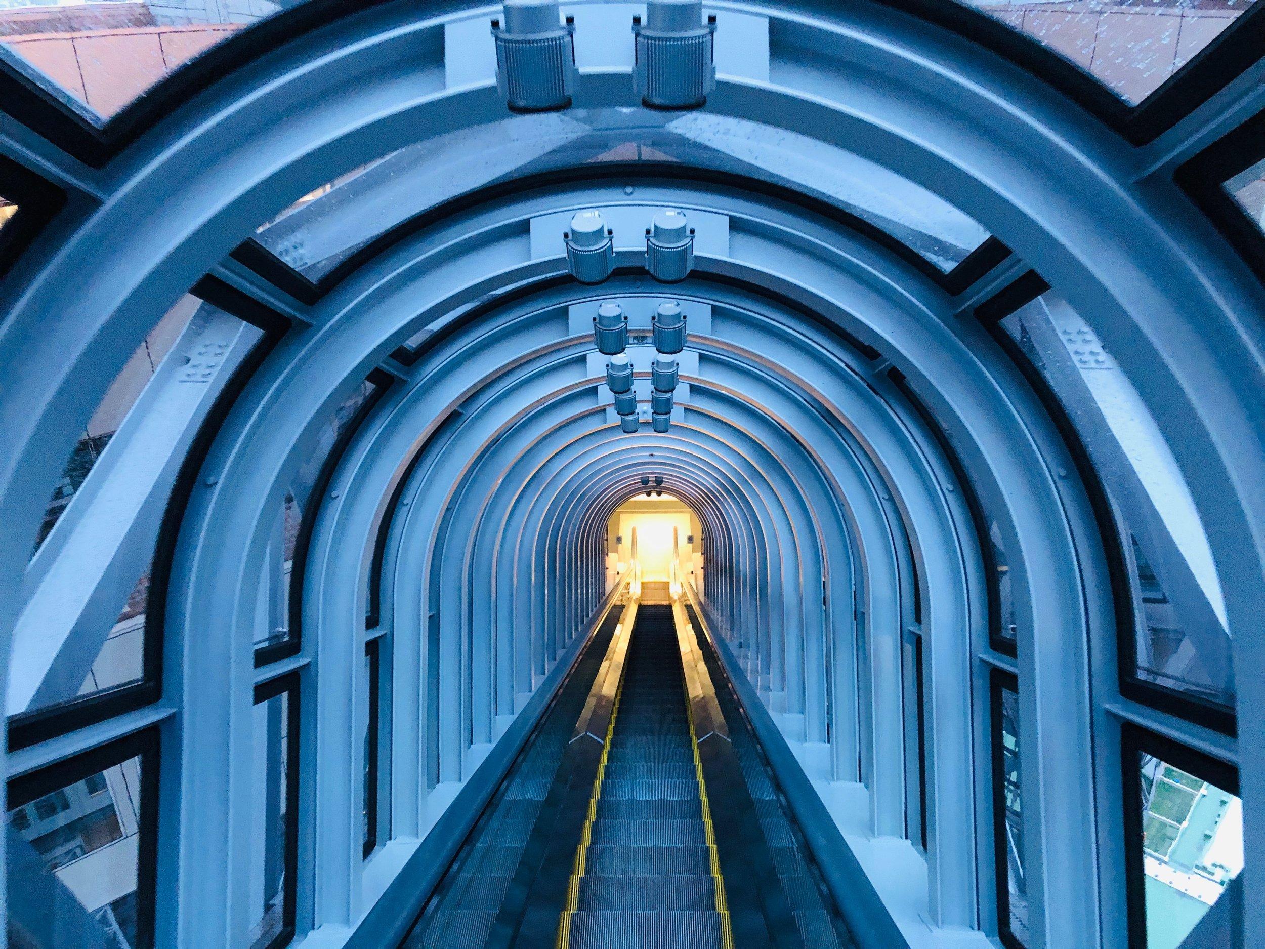 Umeda Sky Building escalator to Kuchu Teien Observatory