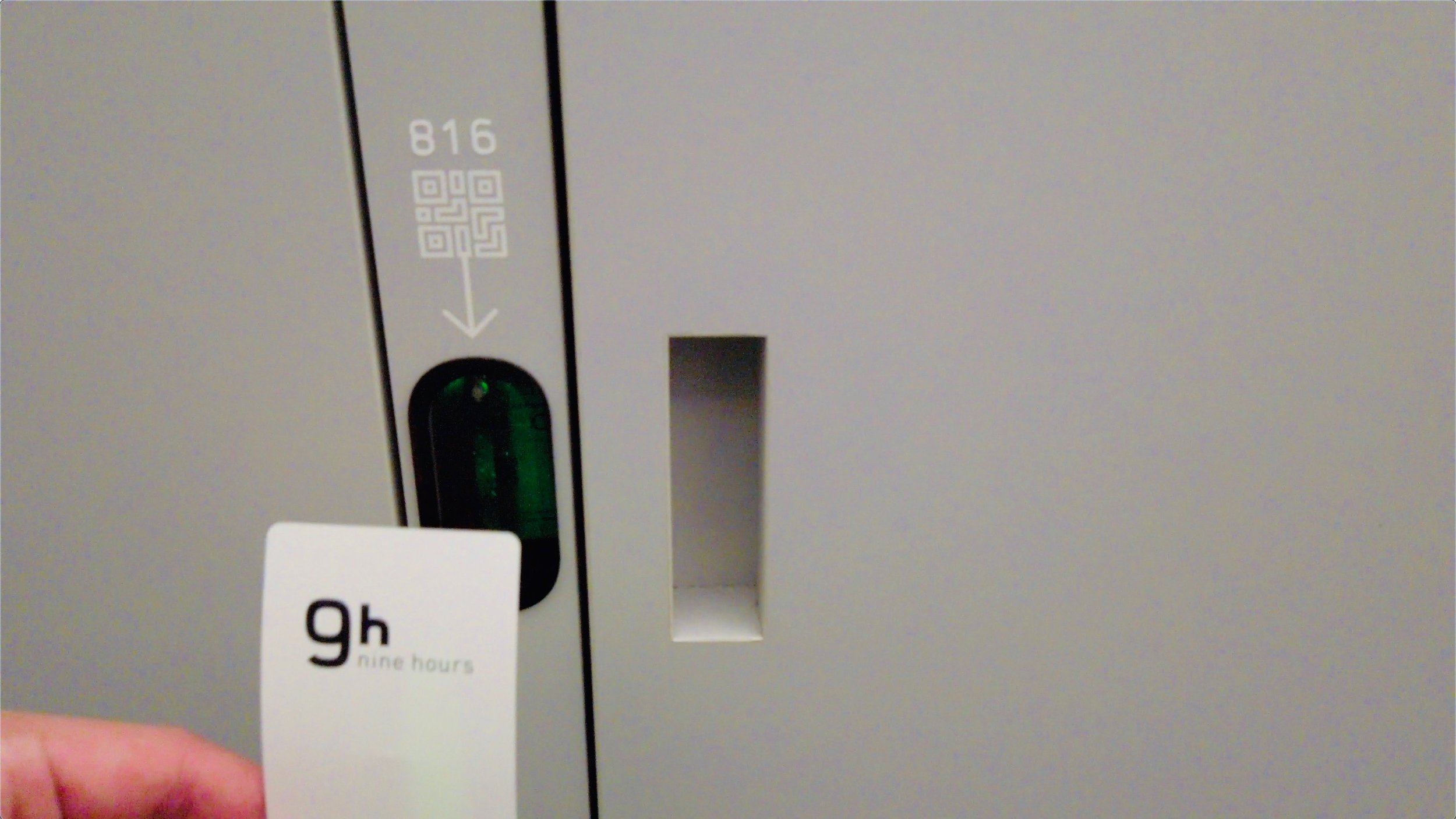 Your locker is unlocked with a QR code keycard at Nine Hours.
