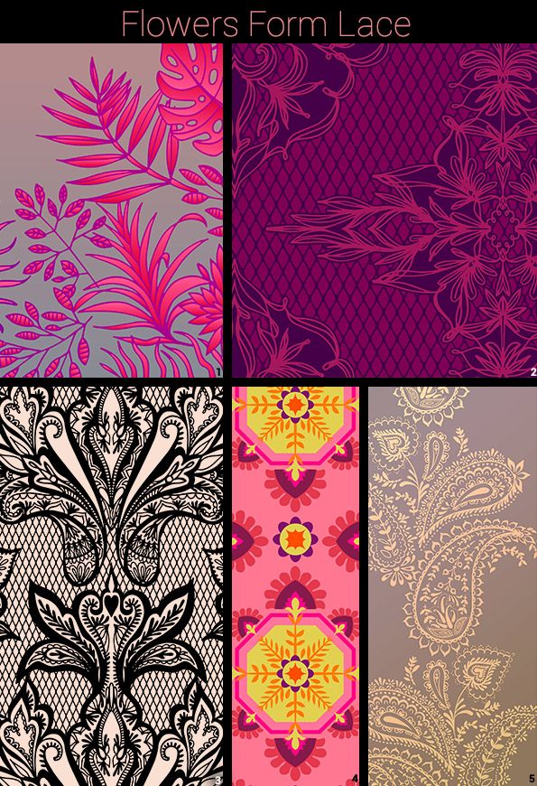 Flower Lace:   1, 5 Ask me to buy these prints.  2 Can be purchased in different color combo  here   3 Can be purchased in different color combo  here   4 Can be purchased in different color combo  here