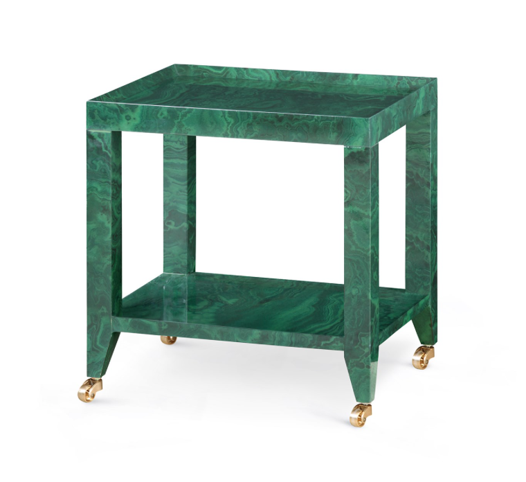 Bungalow 5 Isadora Tea Table With Lacquered Grcloth Navy White Natural Malachite Inside Design