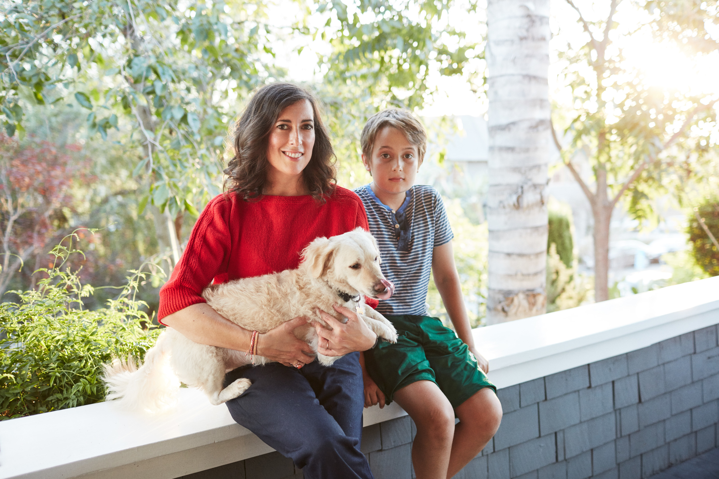 Clare Vivier with her son Oscar and their dog Paco,Yahoo Style Decor,Los Angeles, CA November 2015