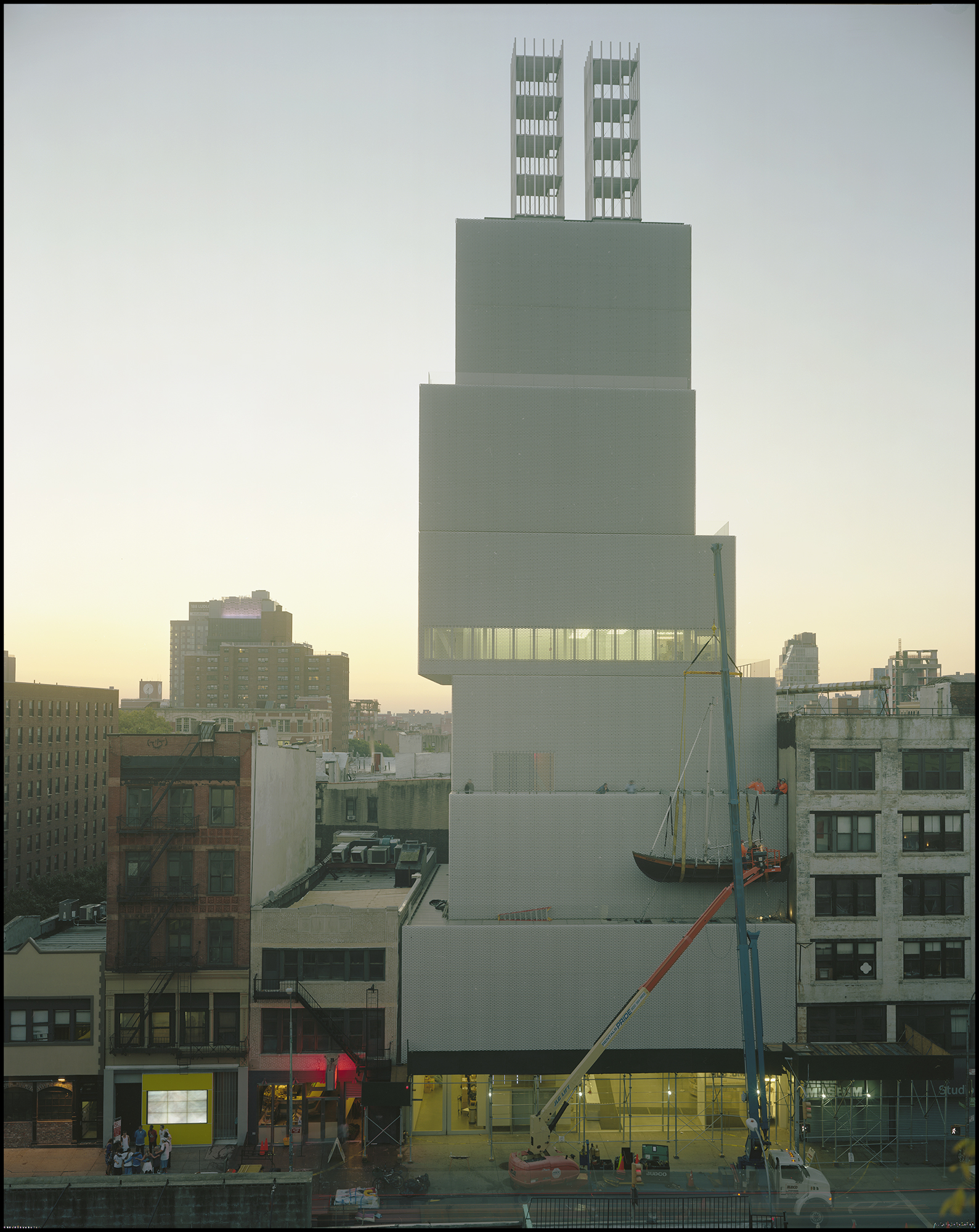 """New Museum, 6:00 AM,Sept. 20th, 2013, Installation of Chris Burden's """"Ghost Ship"""" 8x10"""