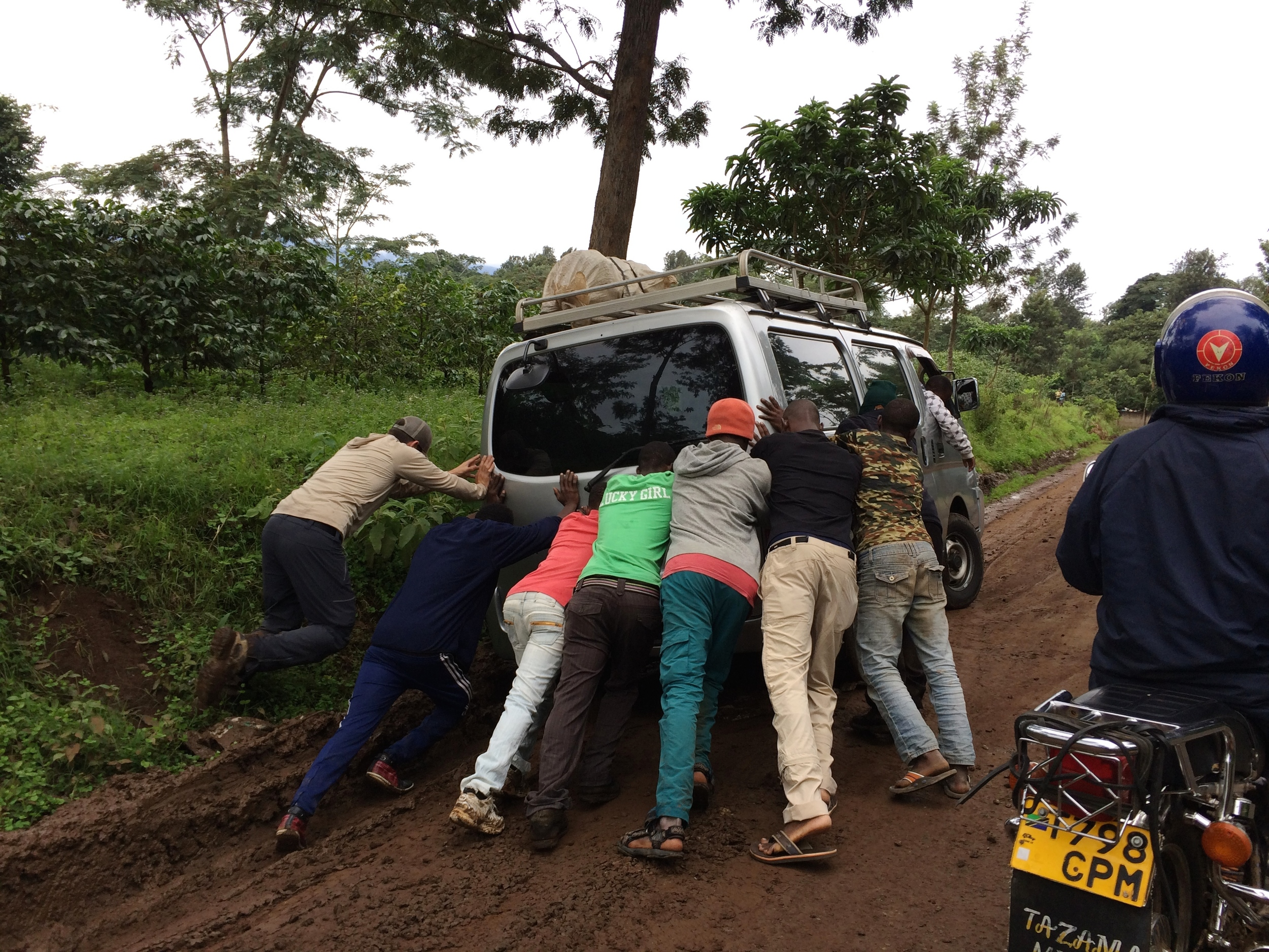 A typical road scene in Tanzania when our bus slid off the road