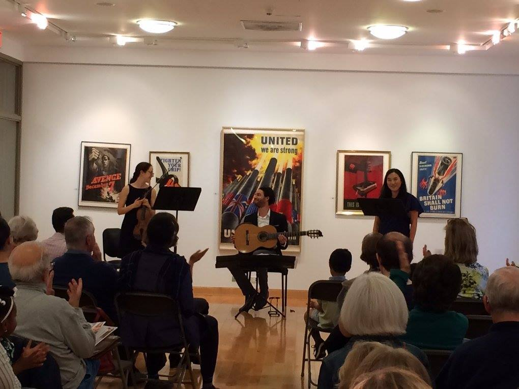 The Songs of War. Playing a wonderful concert with wonderful friends Emily Kalish and Sun Young Chang as part of a musical reflection on the OSilas Gallery's exhibition of World War posters at Concordia College NY.