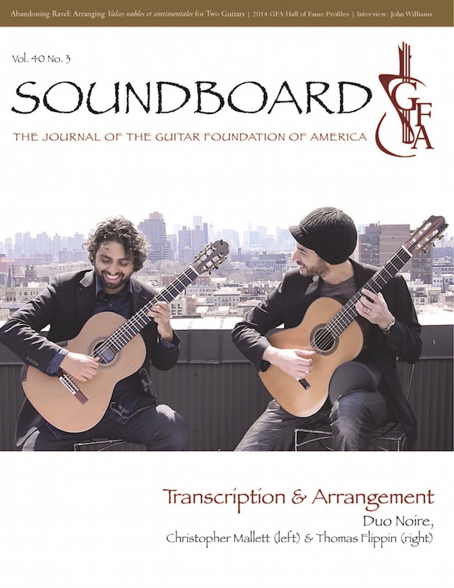 "Duo Noire is on the cover of the Guitar Foundation of America's quarterly journal ""Soundboard."" It is a huge honor for us because it is widely considered to be the most important classical guitar publication in the world. Inside, it features an article and transcription of ours about the great piece ""Juba"" by R. Nathaniel Dett. We also have a good CD review of our Figments album inside. Check it out!"