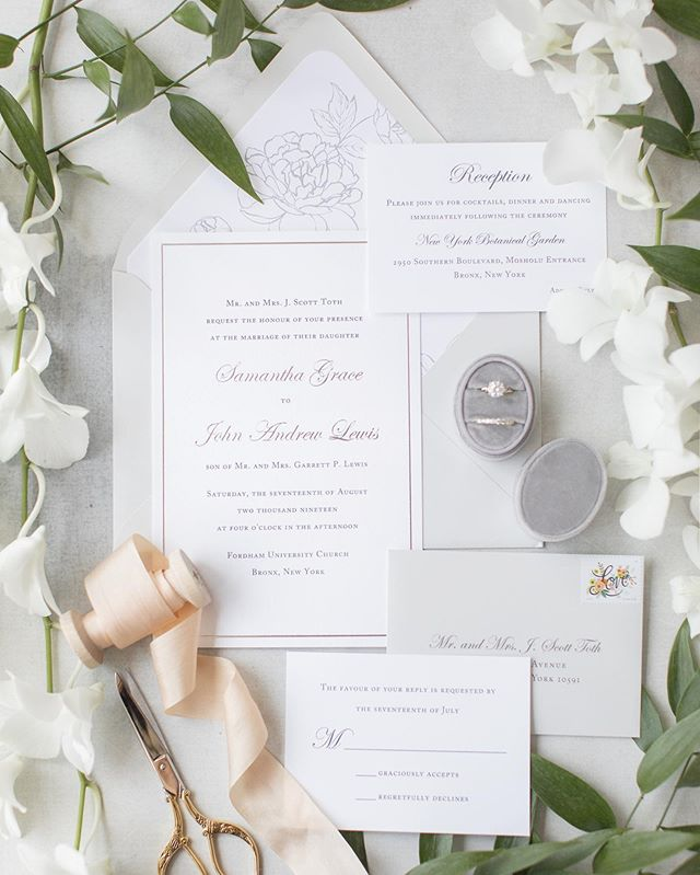 Took an accidental Instagram break during a very busy wedding season! We had the pleasure of designing an array of beautiful invitation suites for some of the best clients these last few months. Here's one we just loved: silver thermography ink, silver foil, a delicate floral liner and soft gray envelopes to match. 👌🏼 #loveprettyinvites 📷: @kelseycombephoto