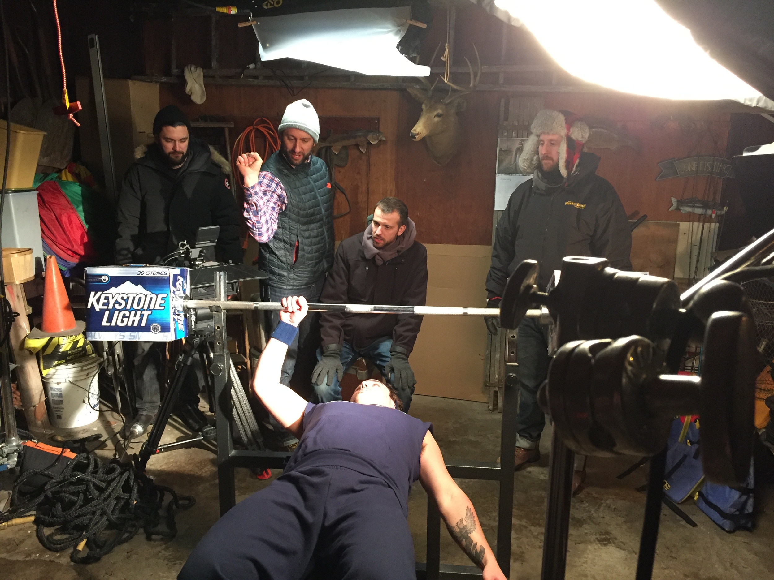 Director Jeremy Pinckert explains what he wants in the bench press scene.