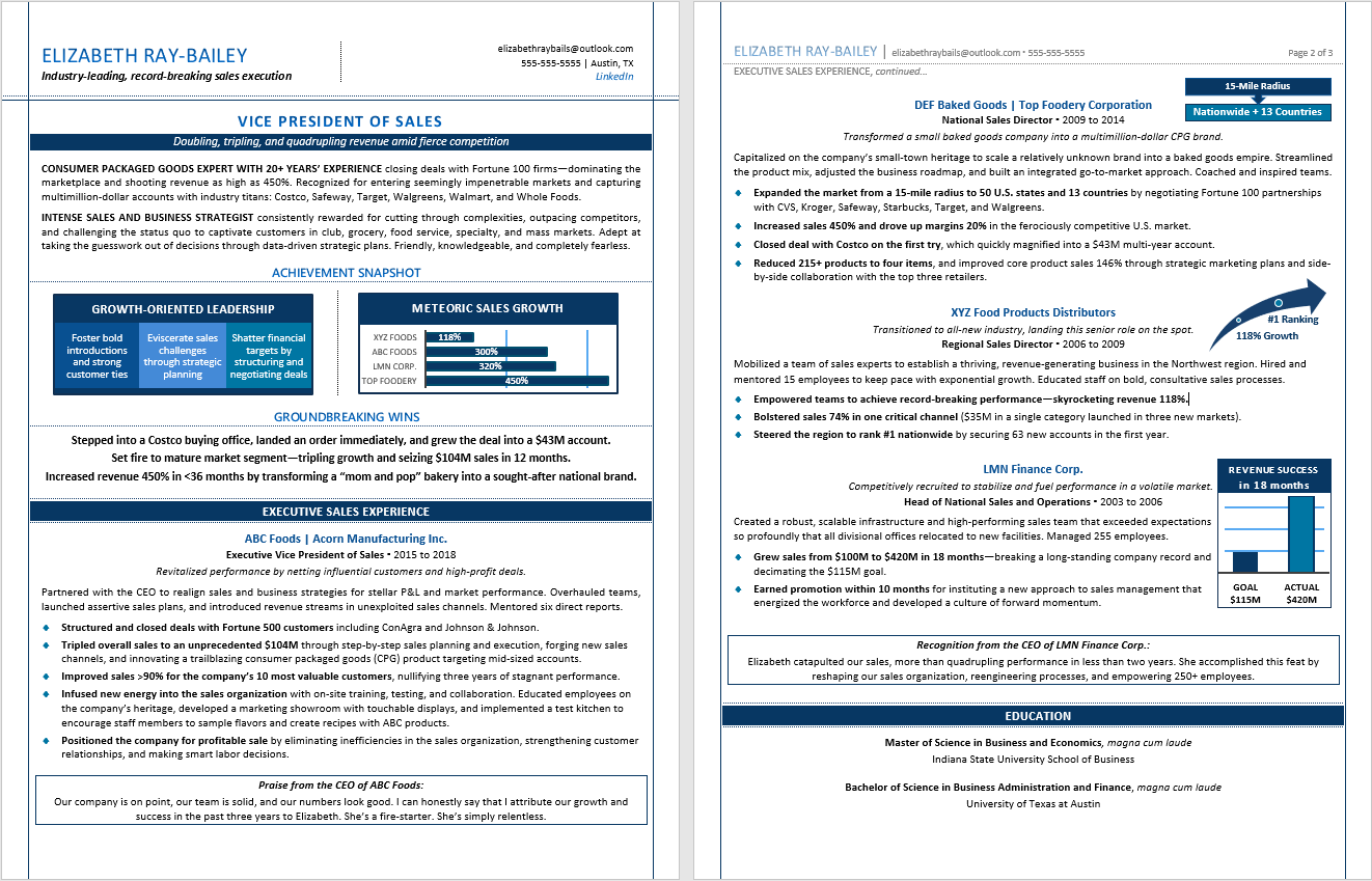Executive Resume Sample:  TORI Award Winner, 2nd Place Best Sales Resume, 2018