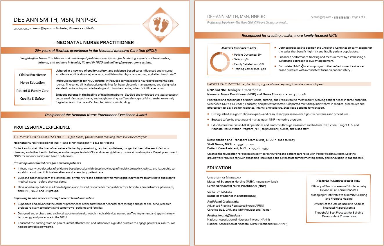 Professional Resume Sample:  Healthcare Resume, Neonatal Nurse Practitioner Resume