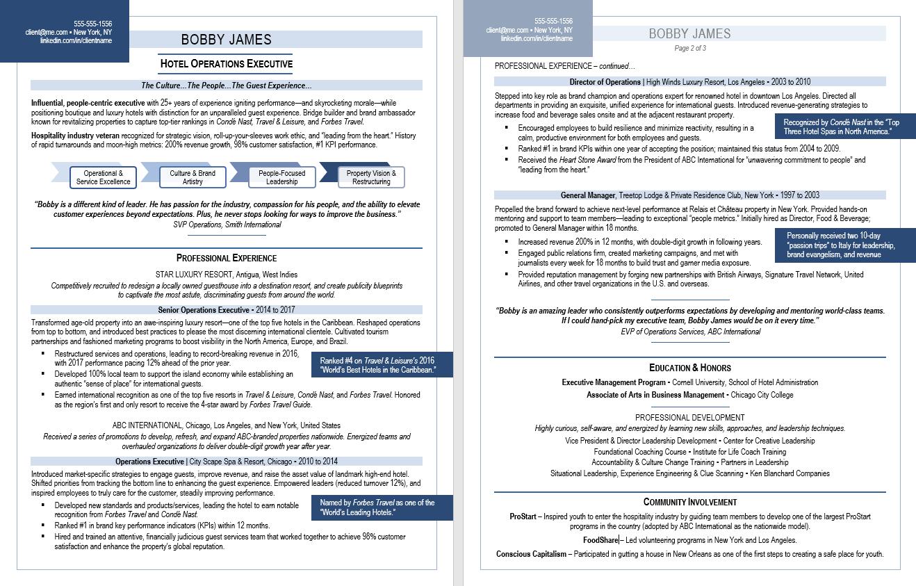 Executive Resume Sample:  TORI Award Nominee, Top 5, Best Hospitality Resume, 2017