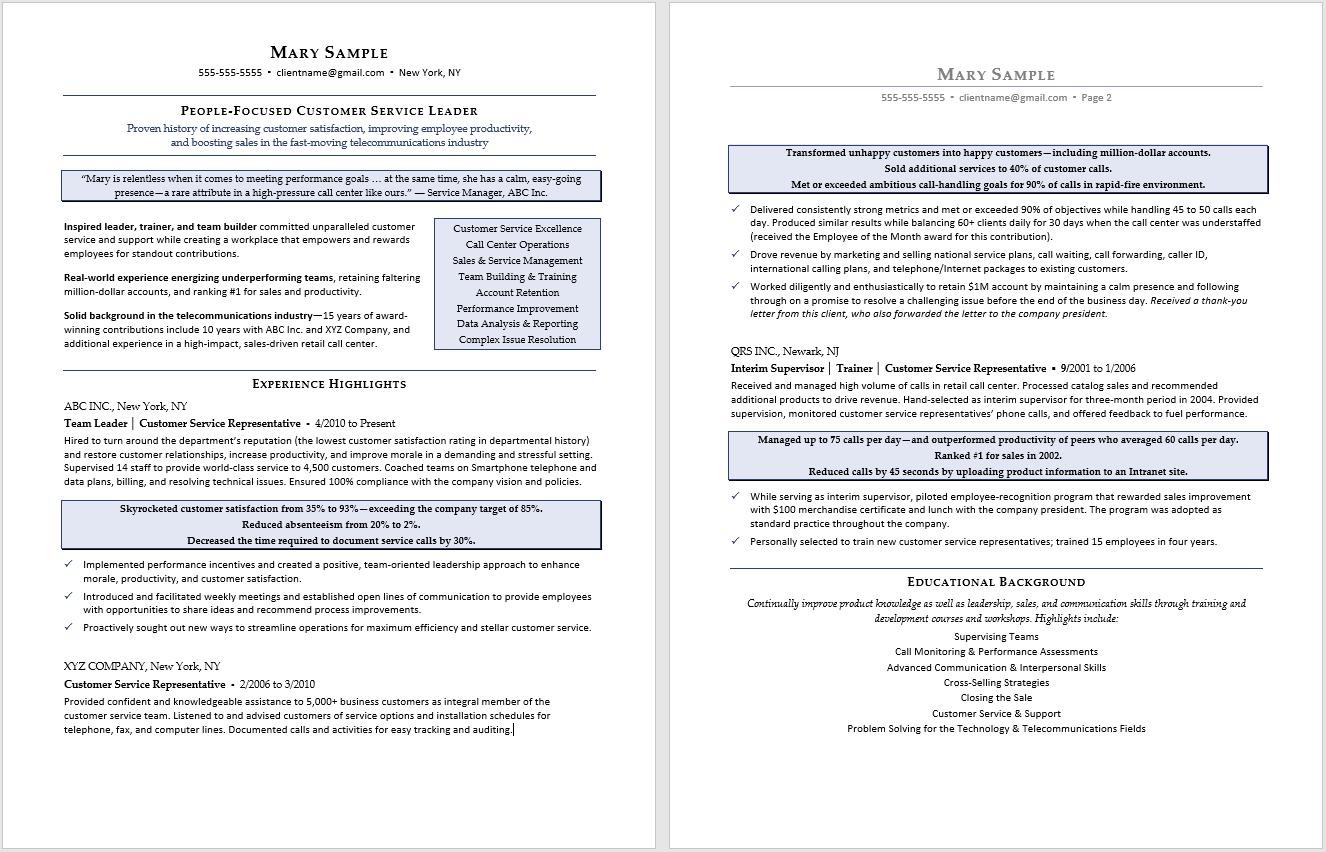 Professional Resume Sample:  Customer Service Resume