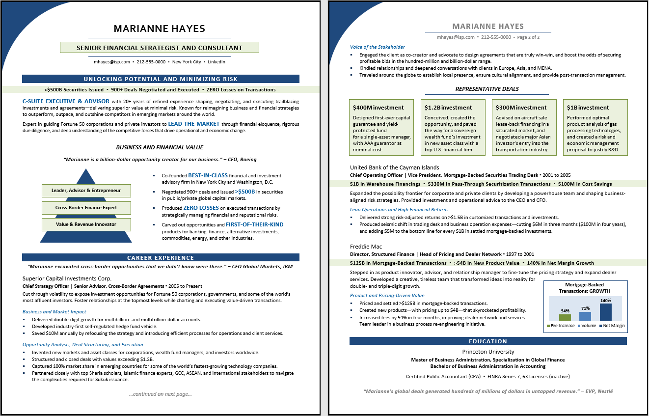 Executive Resume Sample:  TORI Award Winner, 1st Place Best Finance Resume, 2018