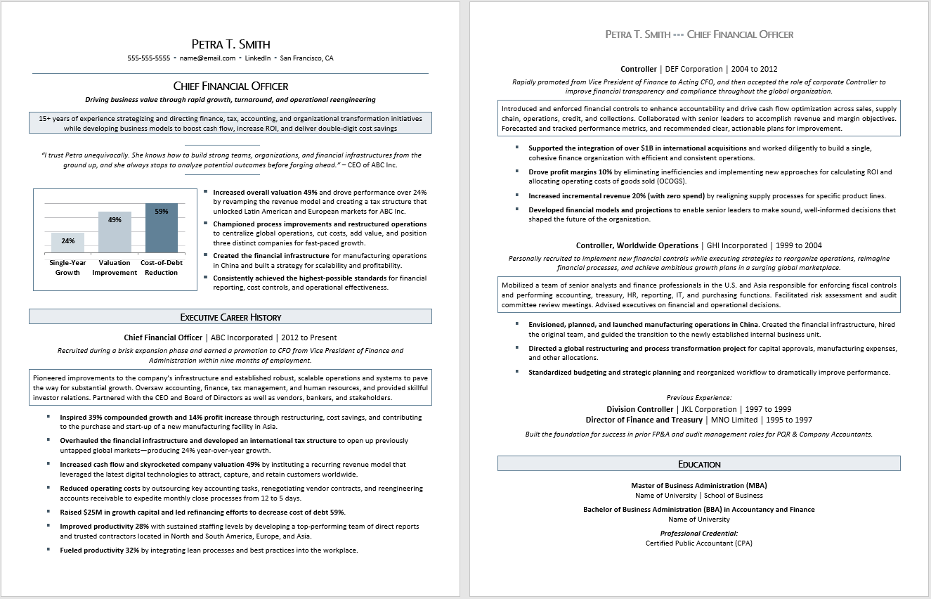 Executive Resume Sample:  Chief Financial Officer (CFO) Resume