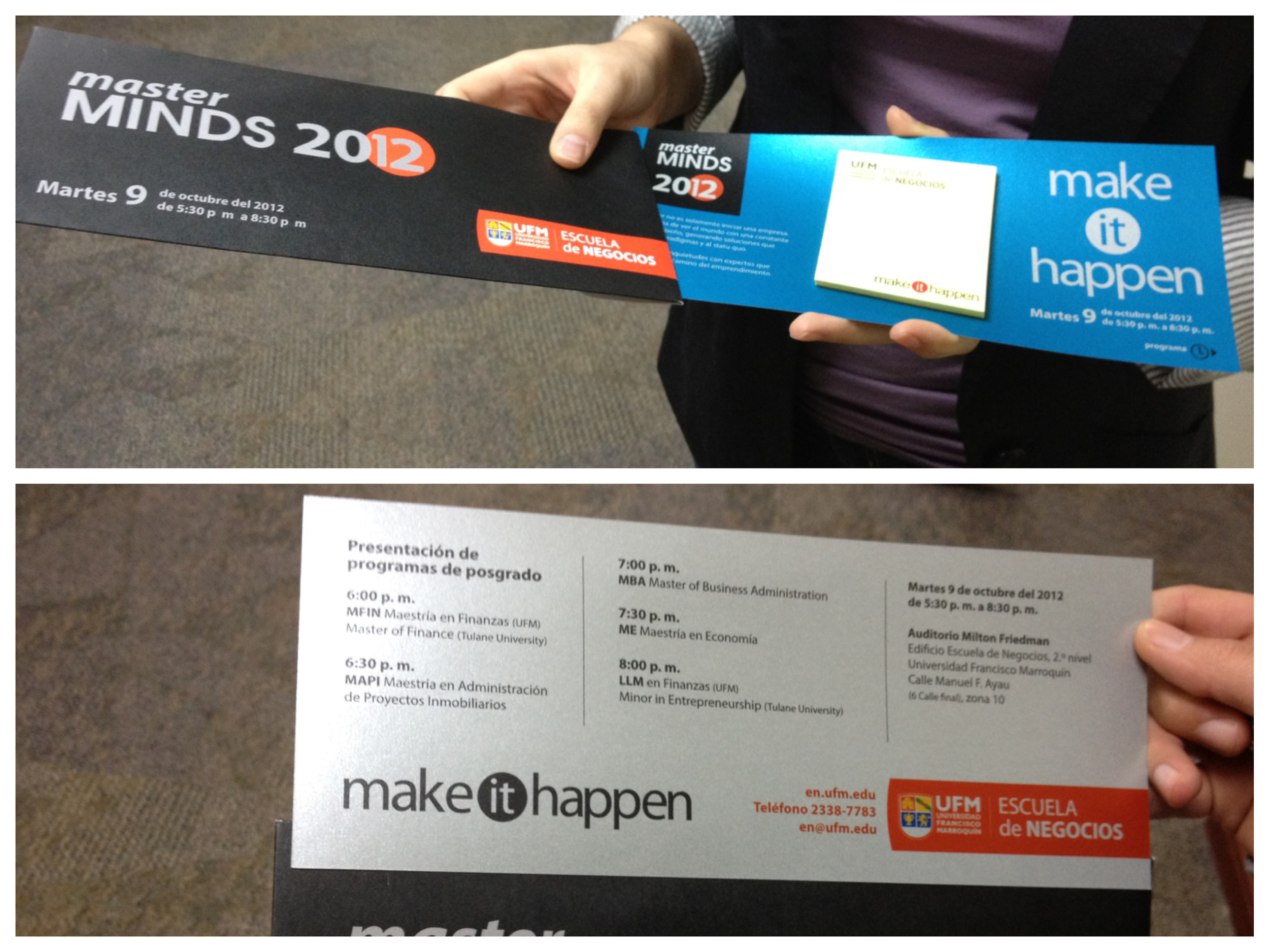 Campaign for Master Minds Guatemala 2012 (printed invitations)