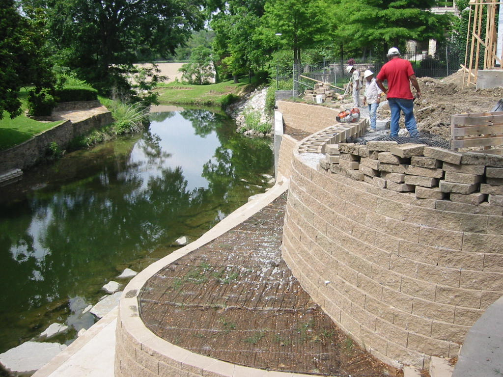 installing a sub-level retaining wall during construction...