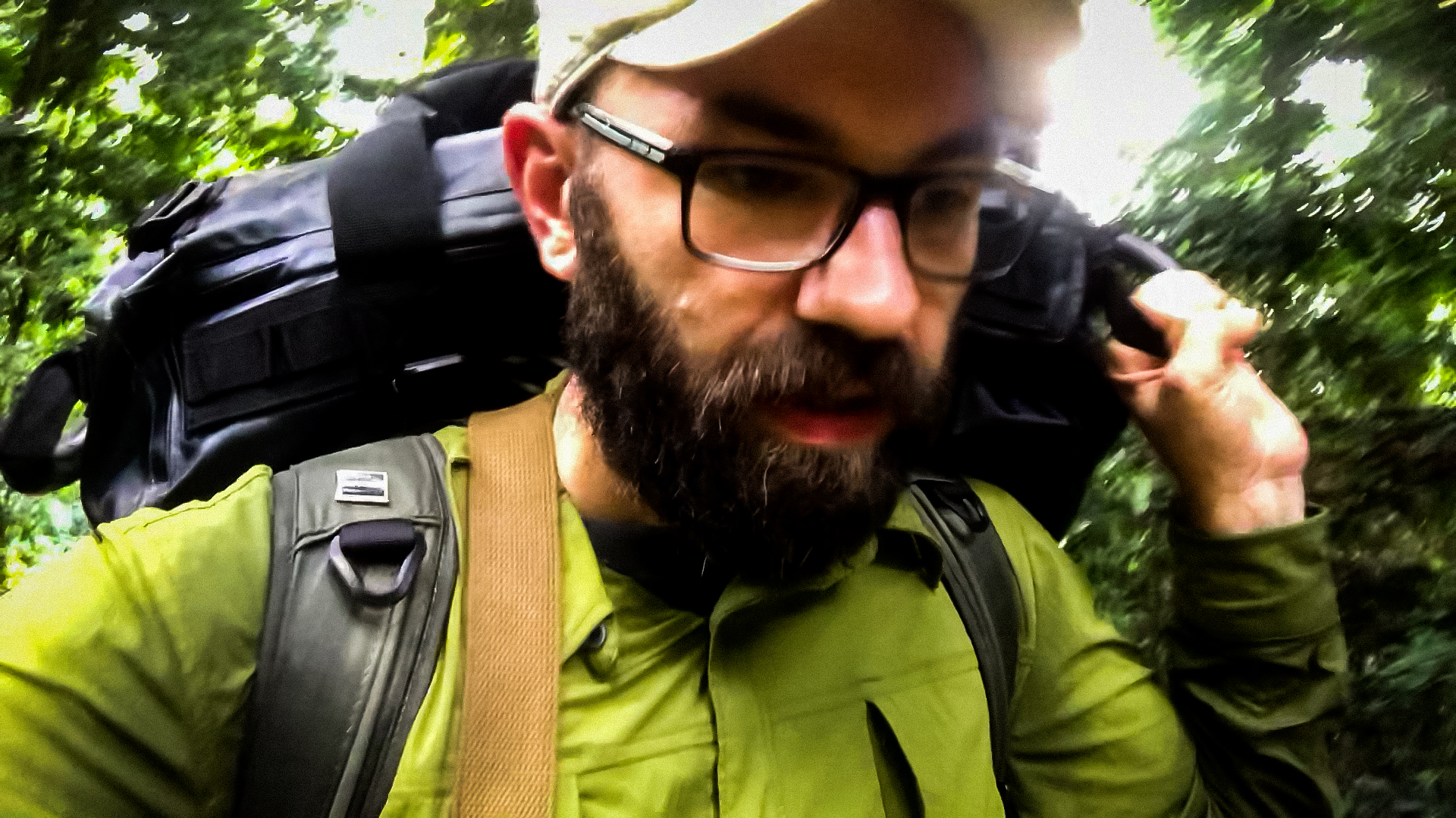 Hiking with gear in tow in the Congo rainforest