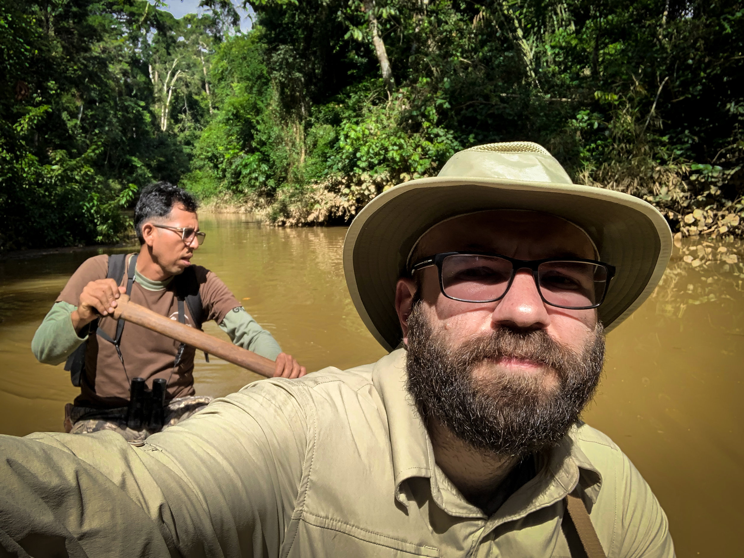 Afternoon canoeing in the Amazon rainforest