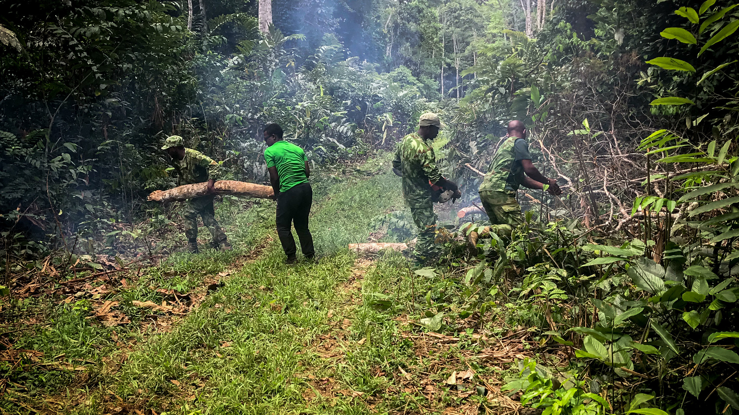 Our friends the rangers clearing a path in the jungle
