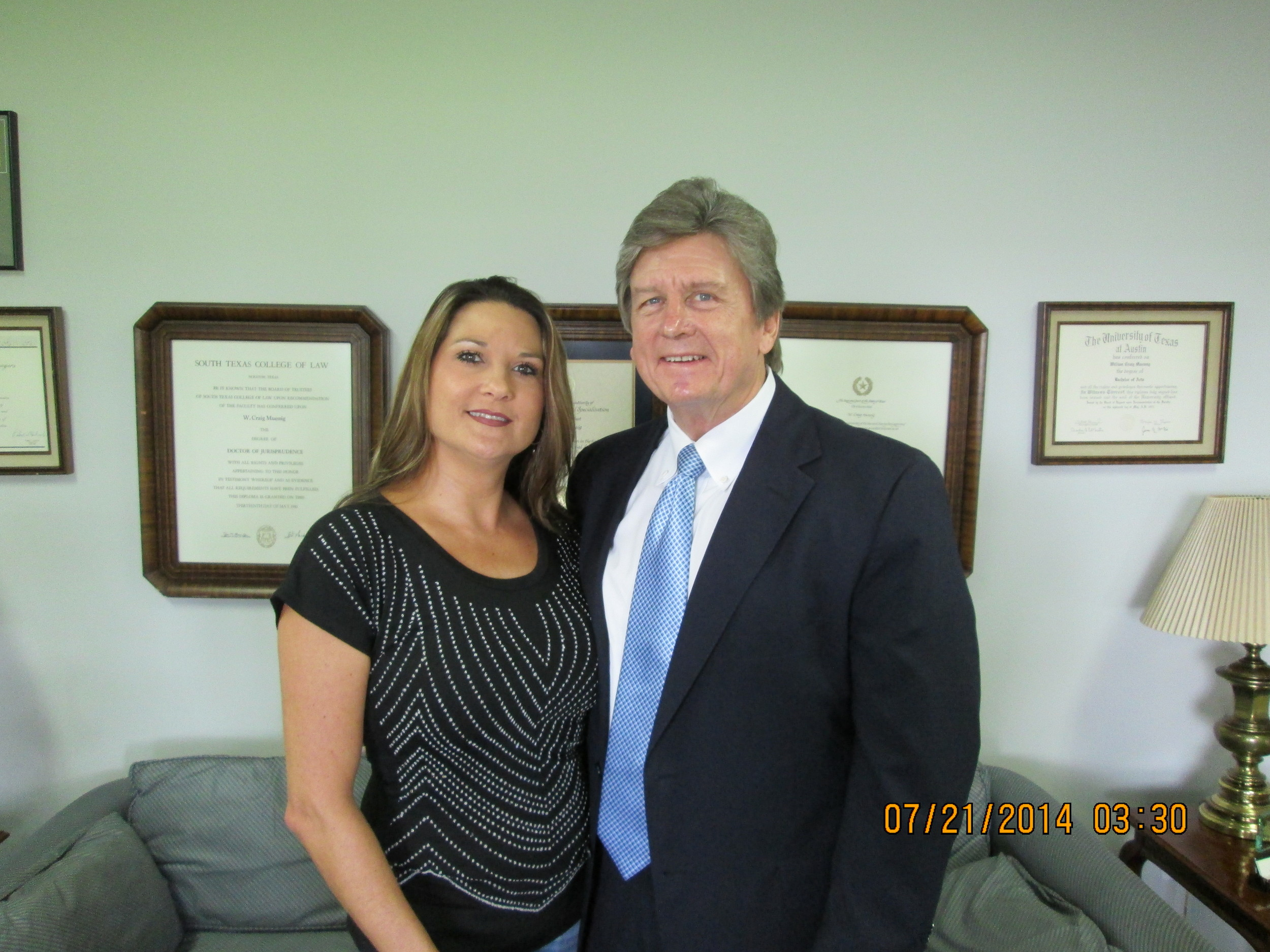 Pictured above is Baytown residentKaren Tiemann, who recently received a $46,500settlement from a Highway 146auto accident in which she sustained a concussion. Muessigalso successfully represented her in a 1990 18-wheeler accident in Mont Belvieu.