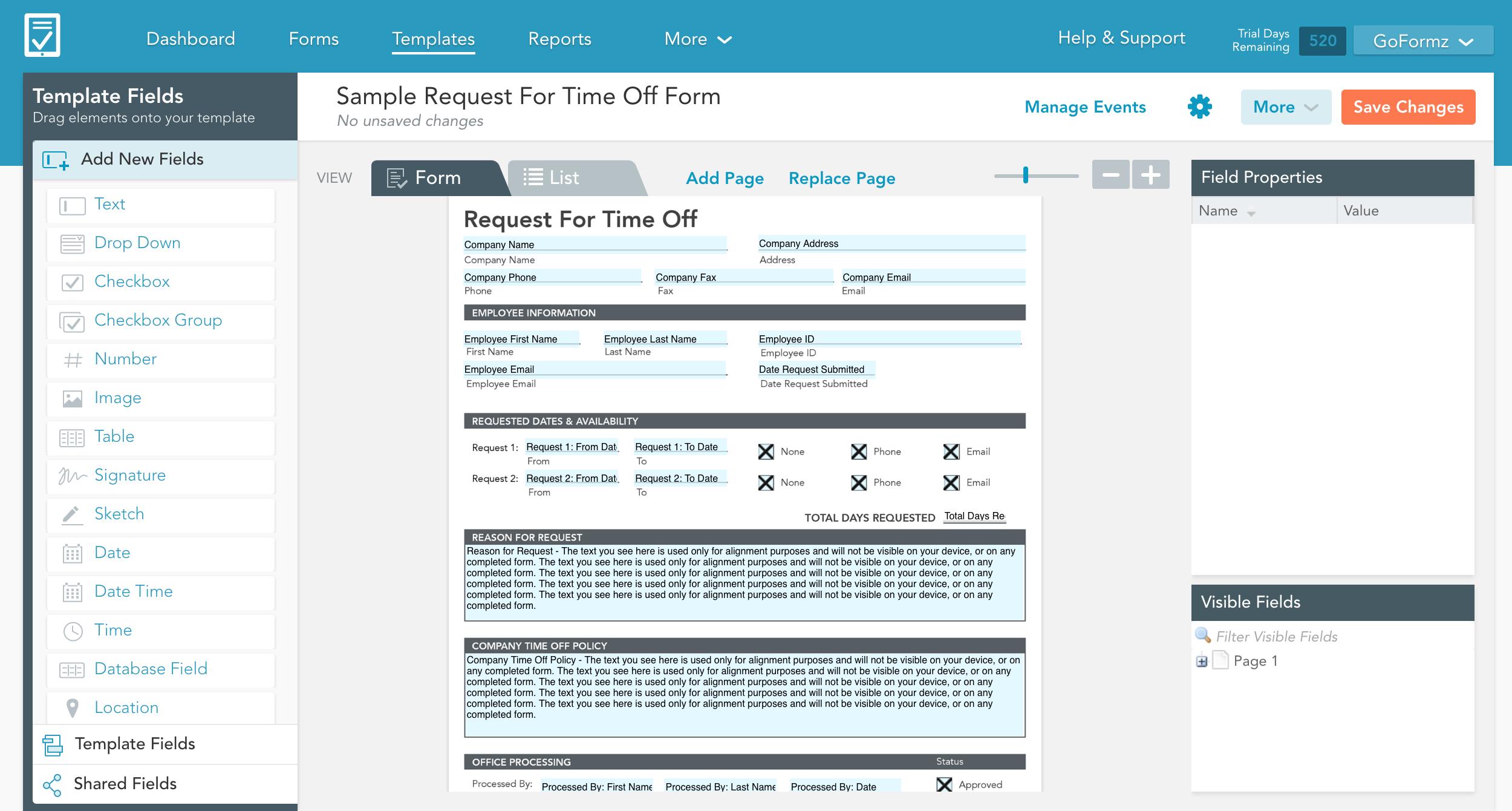 GoFormz Template Editor