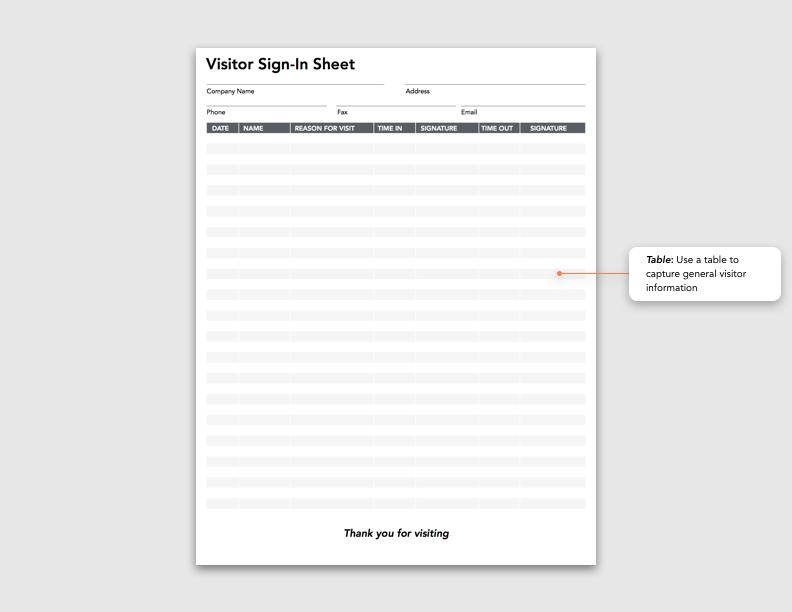 Spotlight Form Visitor Sign In Sheet Blog Goformz