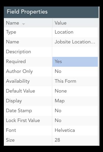 field properties table