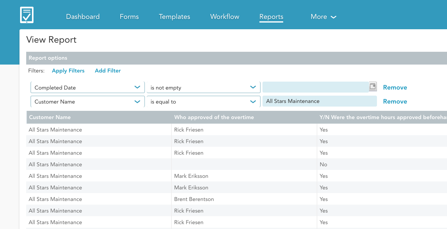 Apply a filter to your report (e.g. technician name, customer name, etc. )
