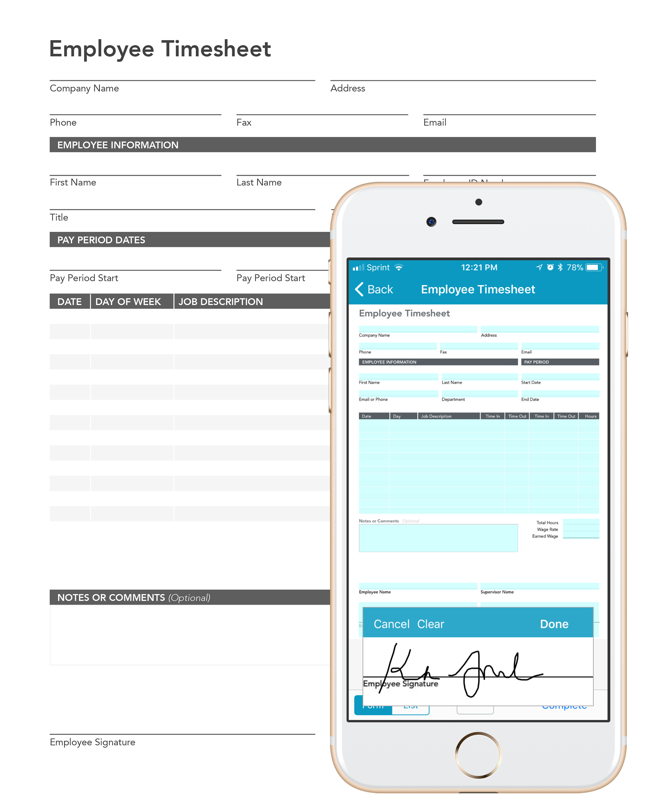 Capture employee shift information with digital hospitality forms and timesheets.