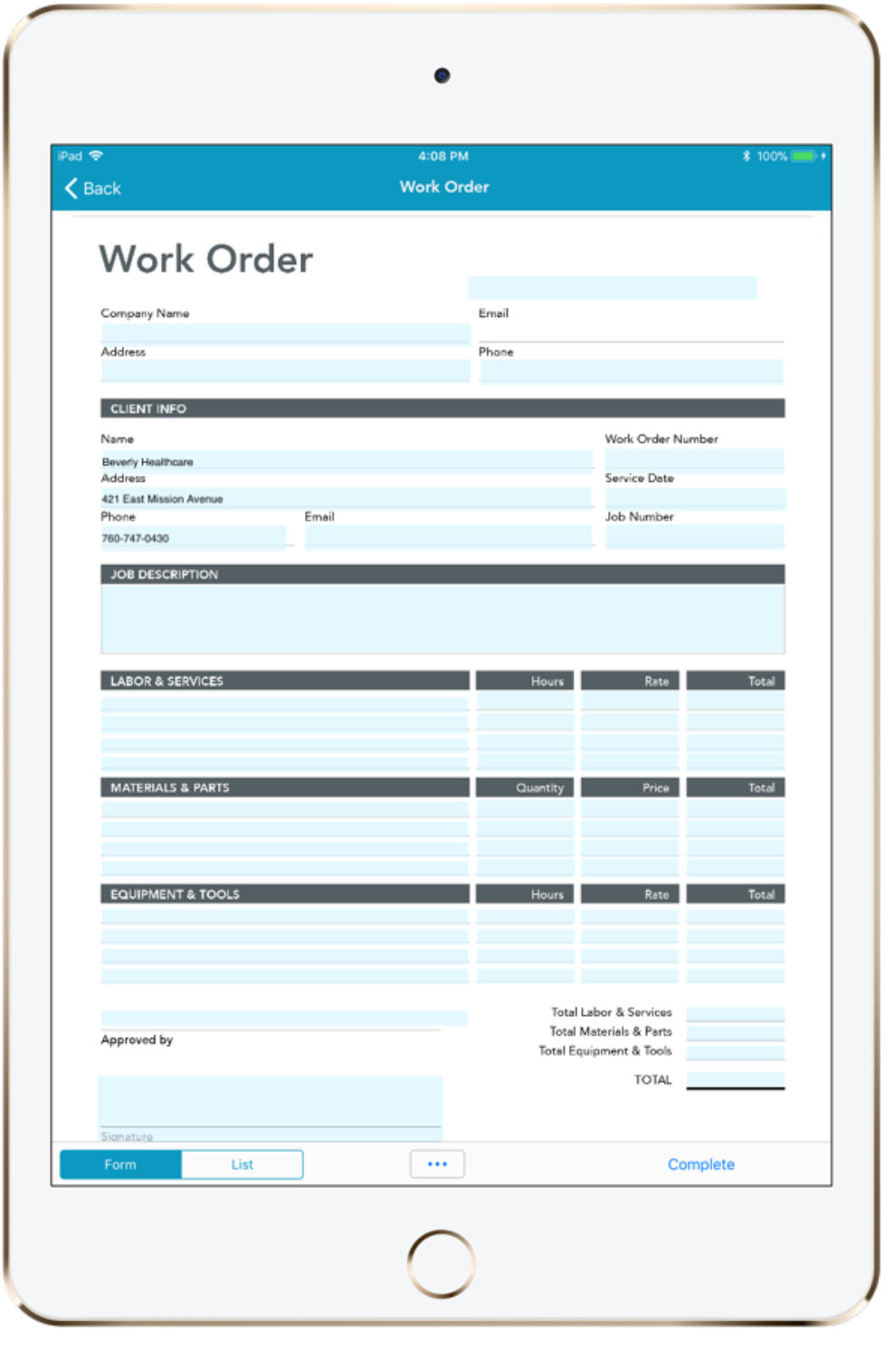 Construction and field service work order