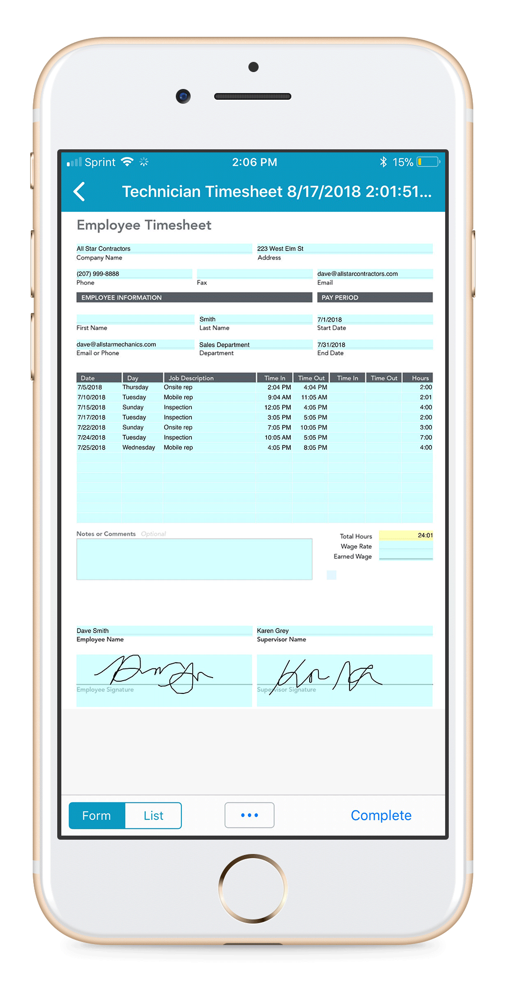 Field service and construction timesheet