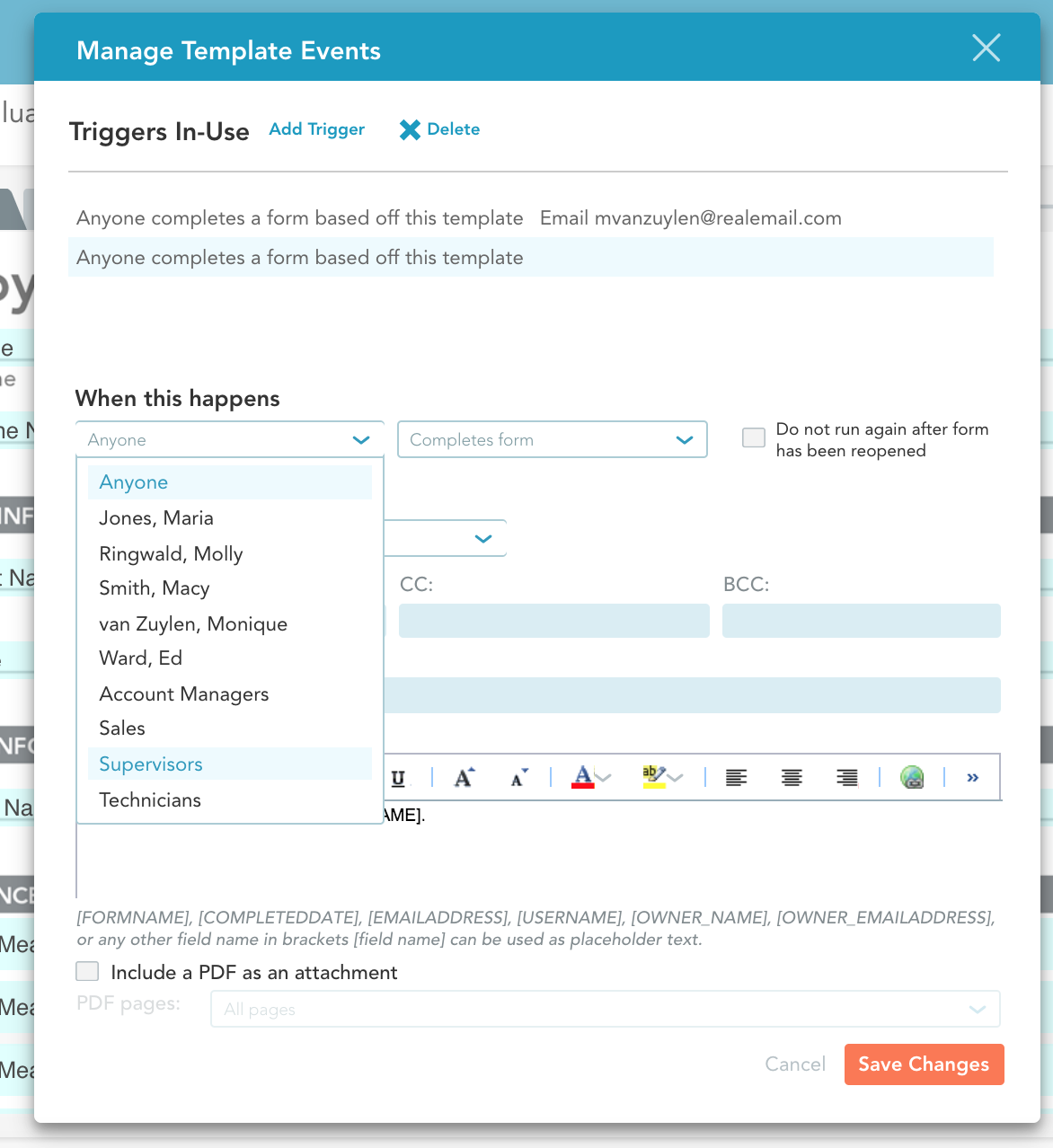 Automate mobile forms actions like uploading a PDF to box using the Manage Events Window