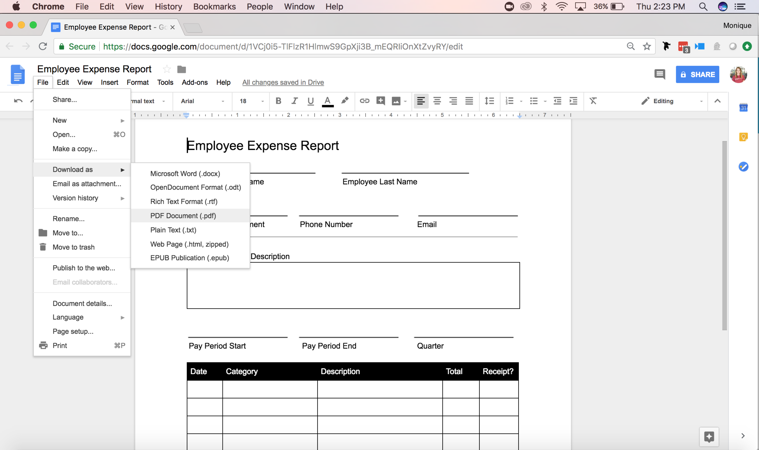 Once you have customized your new form, export is as a PDF and upload to GoFormz