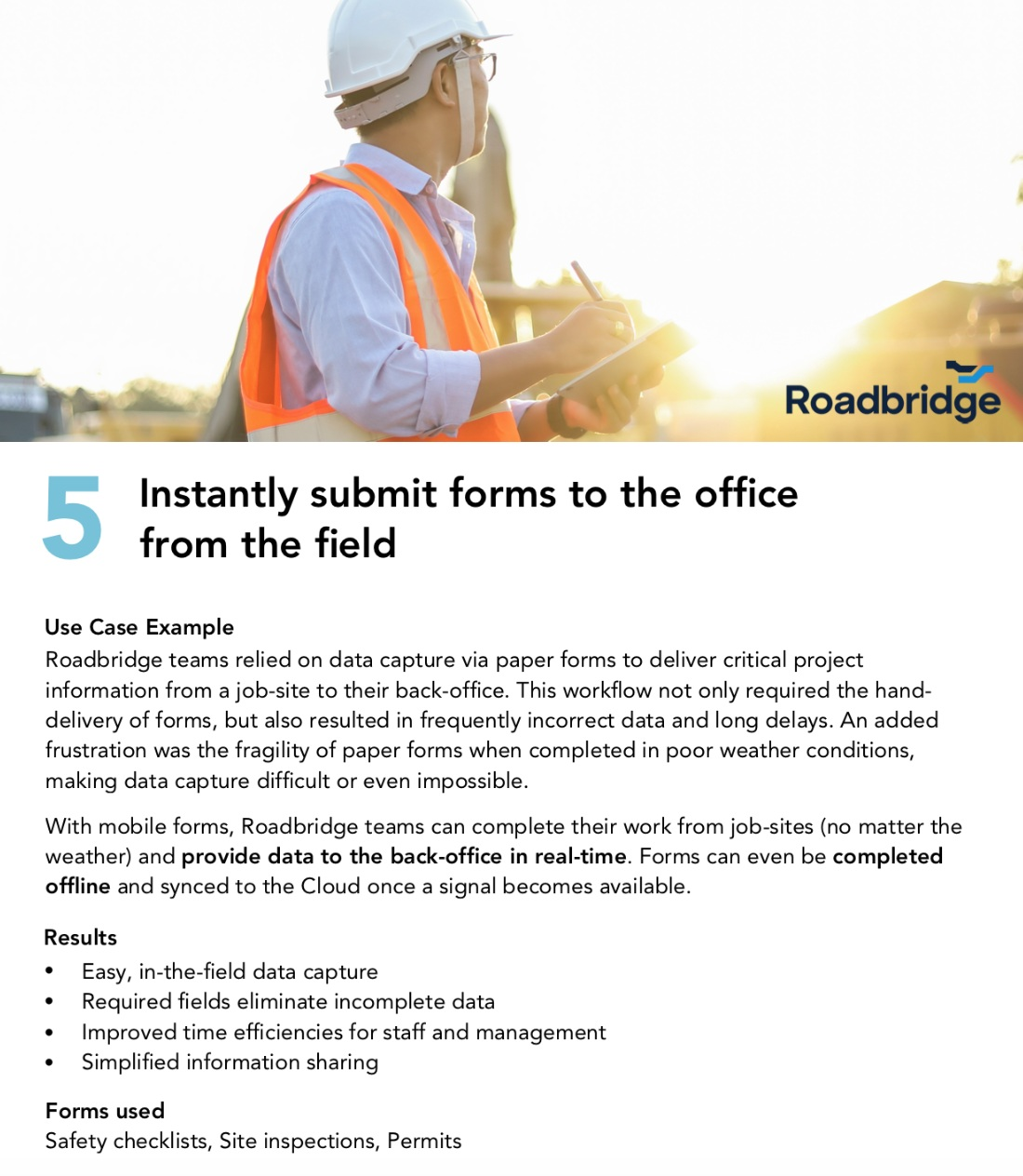 7 common use cases for construction mobile forms ebook - roadbridge real-time data