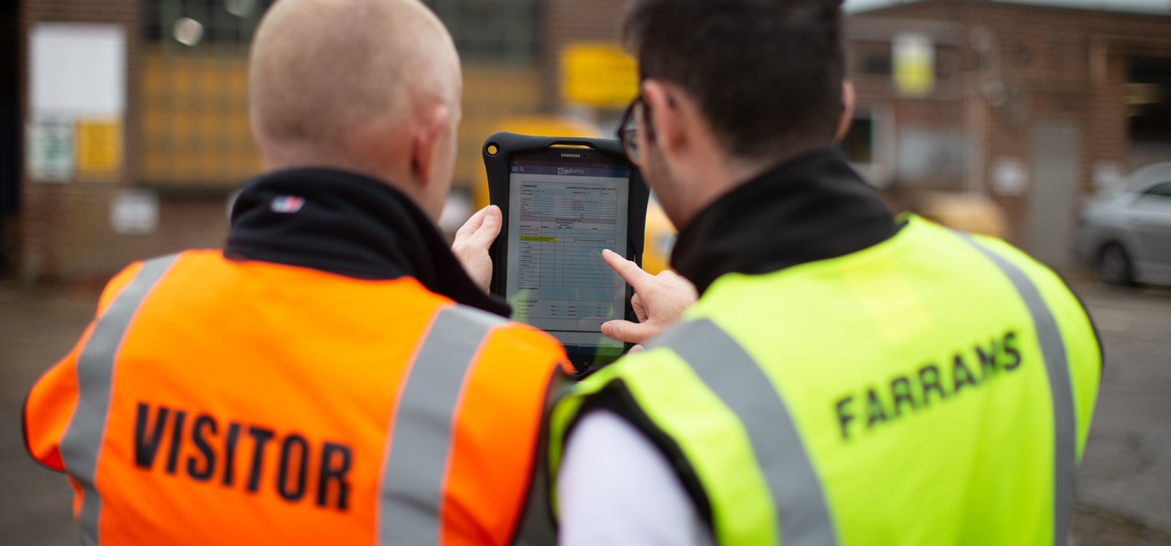 Farrans construction team uses GoFormz mobile forms on iPads in the field to gather and route data