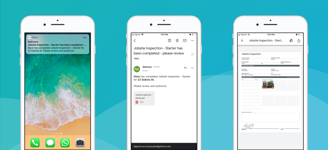 Automated email notifications streamline communication and the sharing of mobile forms data