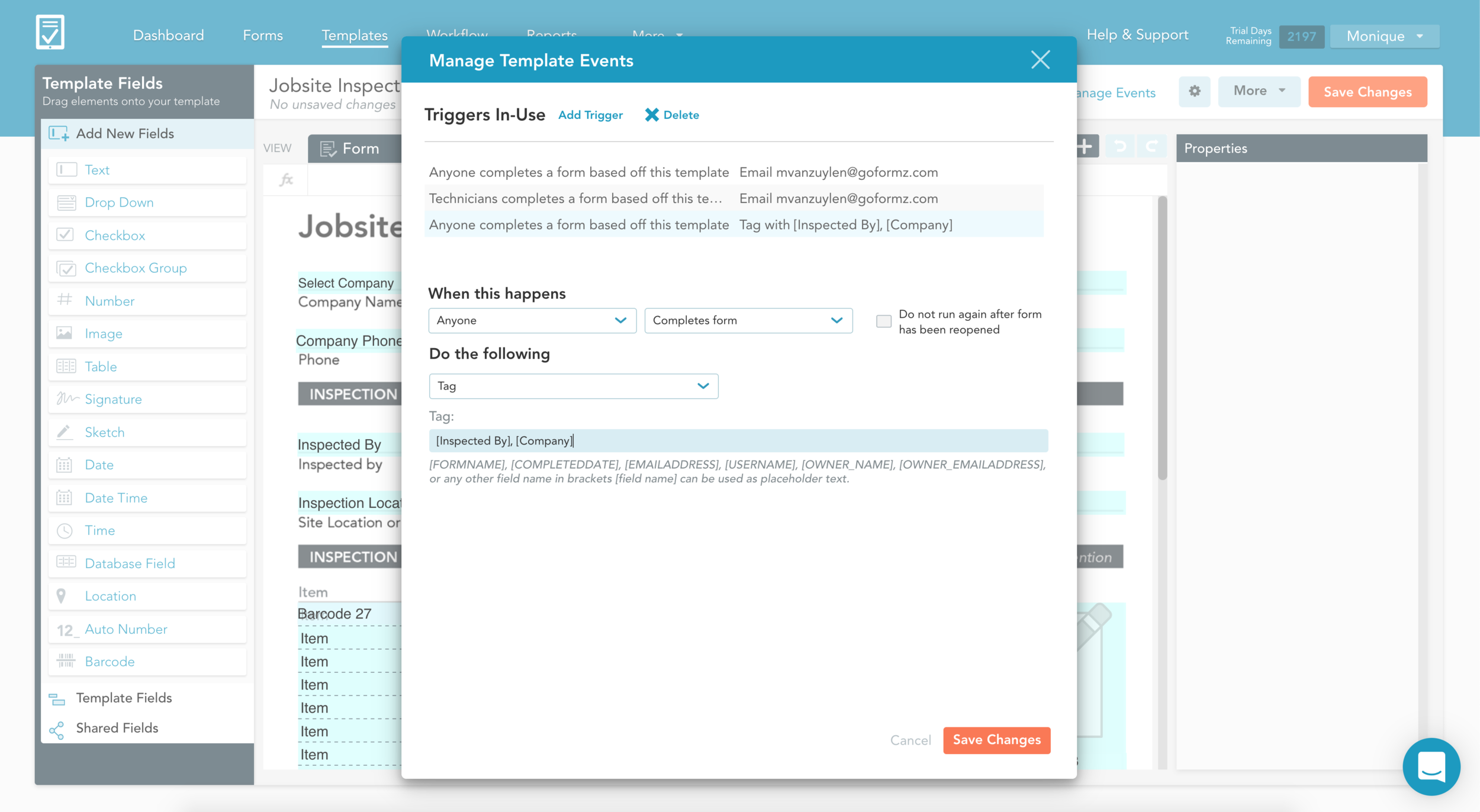 Add Automatic Form Tagging in the Manage Events Window of the Template Editor