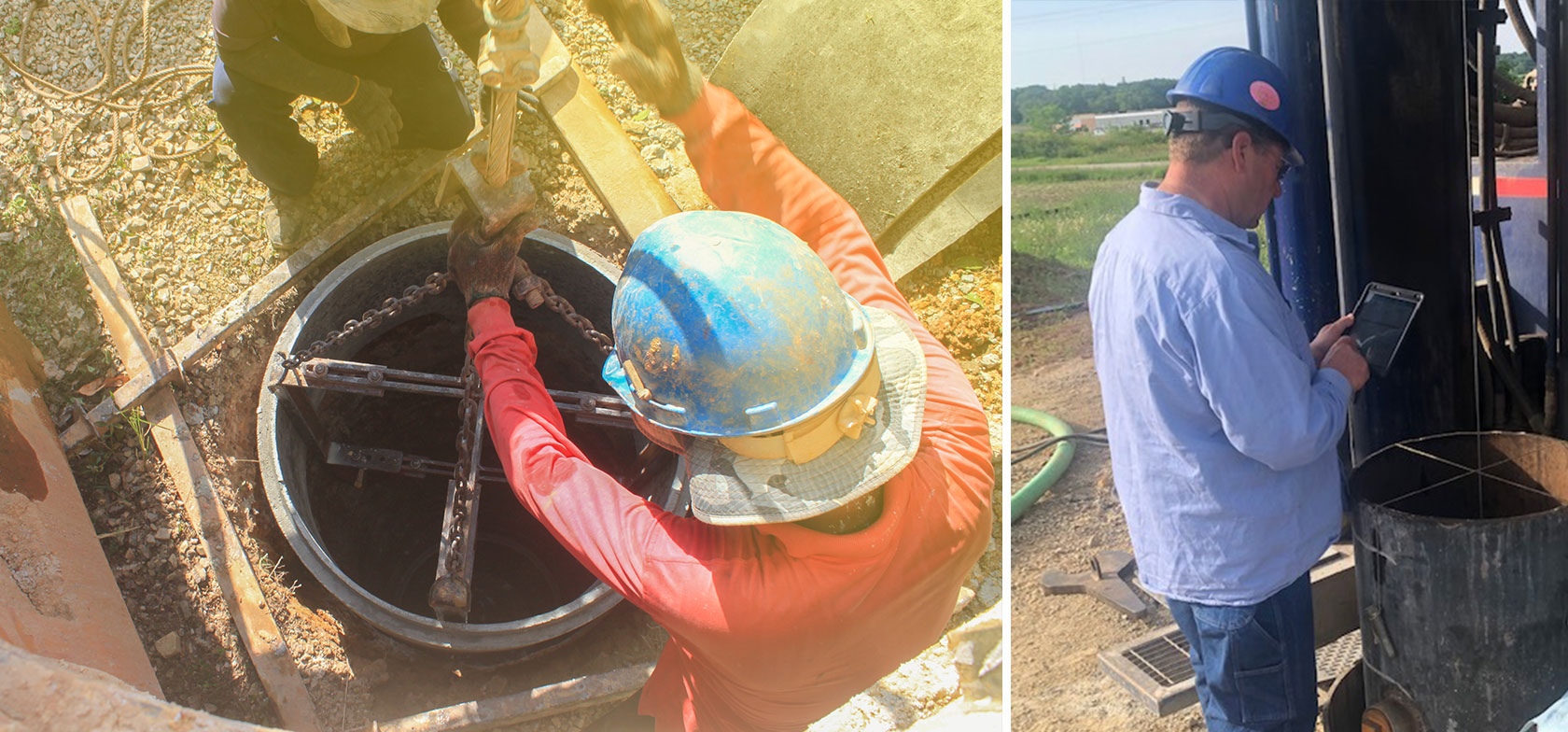 Municipal well and pump field teams use mobile forms on their tablets to capture well water capacity data