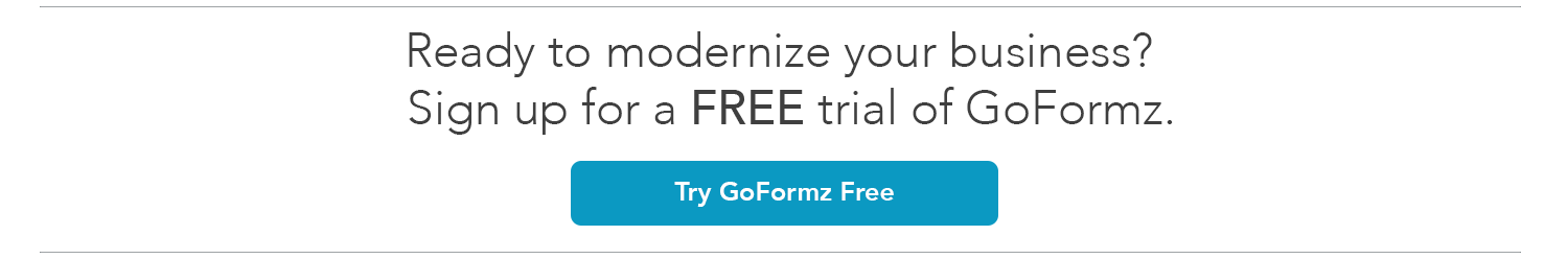 """Banner reads """"Ready to modernize your business, sign up for a free trial of goformz"""""""