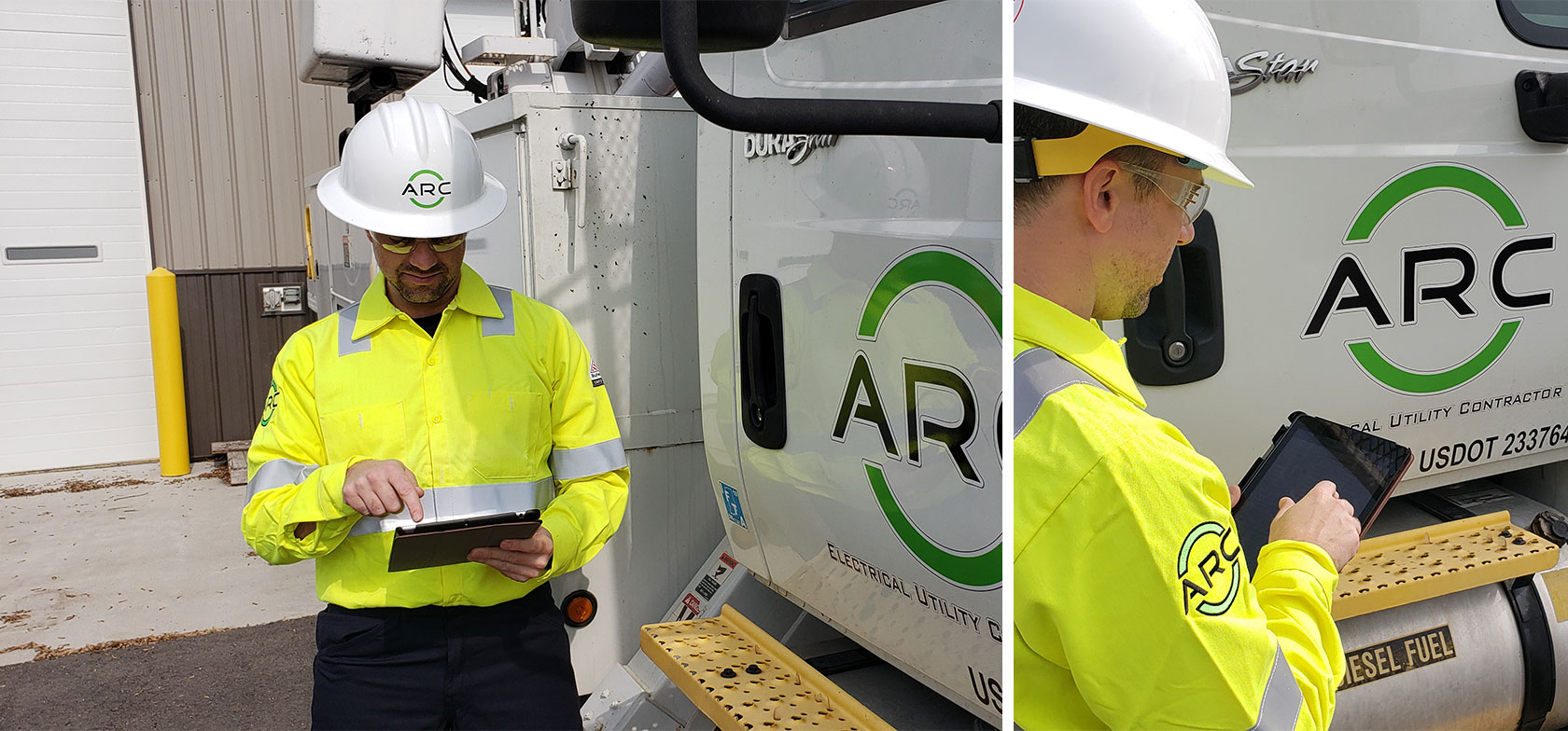 ARC American technician uses GoFormz mobile forms on his iPad while wearing a hard hat